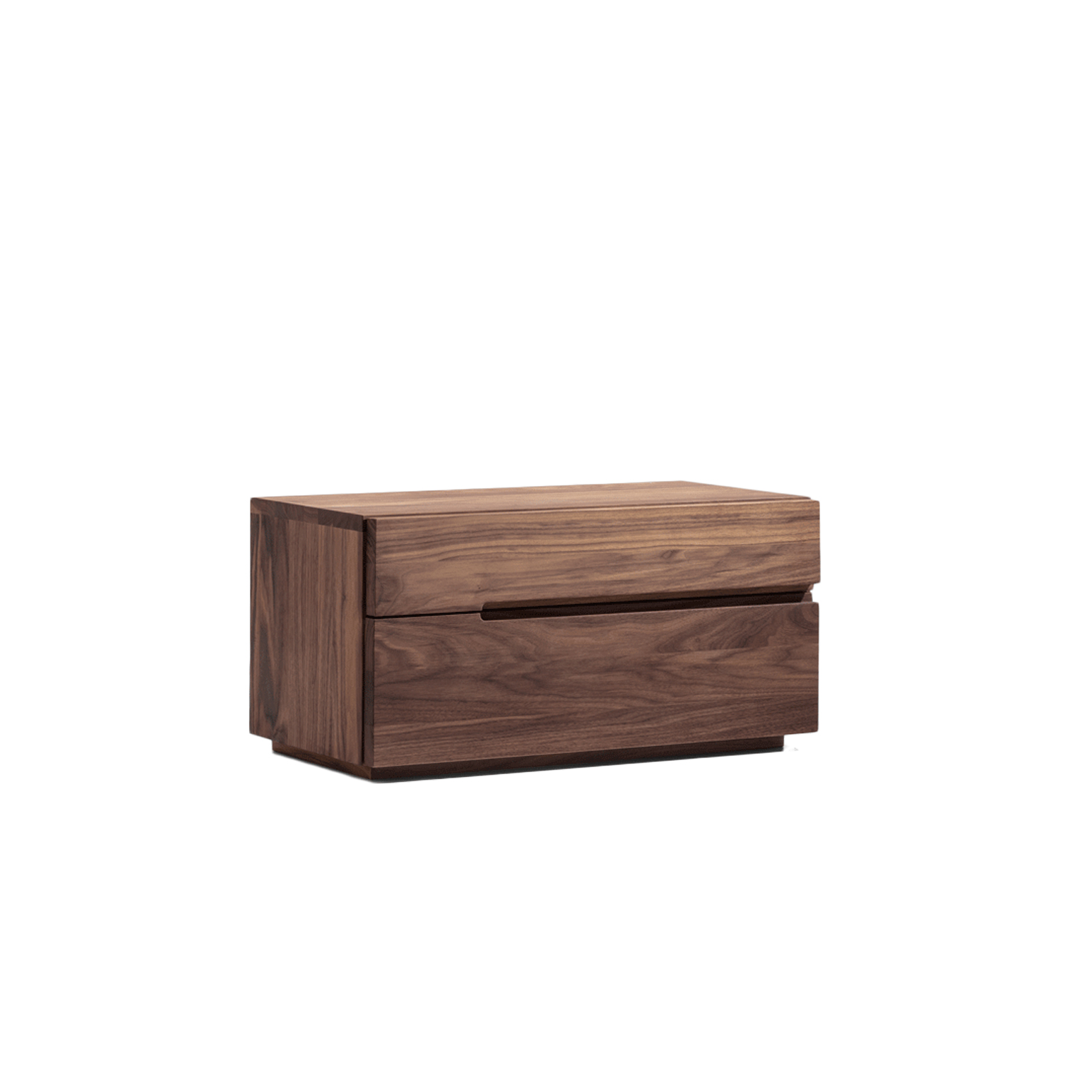 Nightstand Bedside Table - The flat cubical bedside table NIGHTSTAND with its two drawers offers ample storage options near the bed. Its unobtrusive design combines well with the beds DOZE, FRIDAY NIGHT, FUSION, SNOOZE, all SIMPLE-beds, IN HEAVEN, MELLOW and GRAND MELLOW.  The nightstand bedside table is available in white oiled ash, oiled oak, oiled knotty oak, colour stained oak, oiled American cherry, oiled American walnut and oiled European walnut.   The drawer is comb jointed and has partly extendable runners, and solid hornbeam is used for the interior parts.   Comfort height(H40 cm) is available at an additional charge upon request.  For colour stained oak options, please refer to the catalogue.  | Matter of Stuff