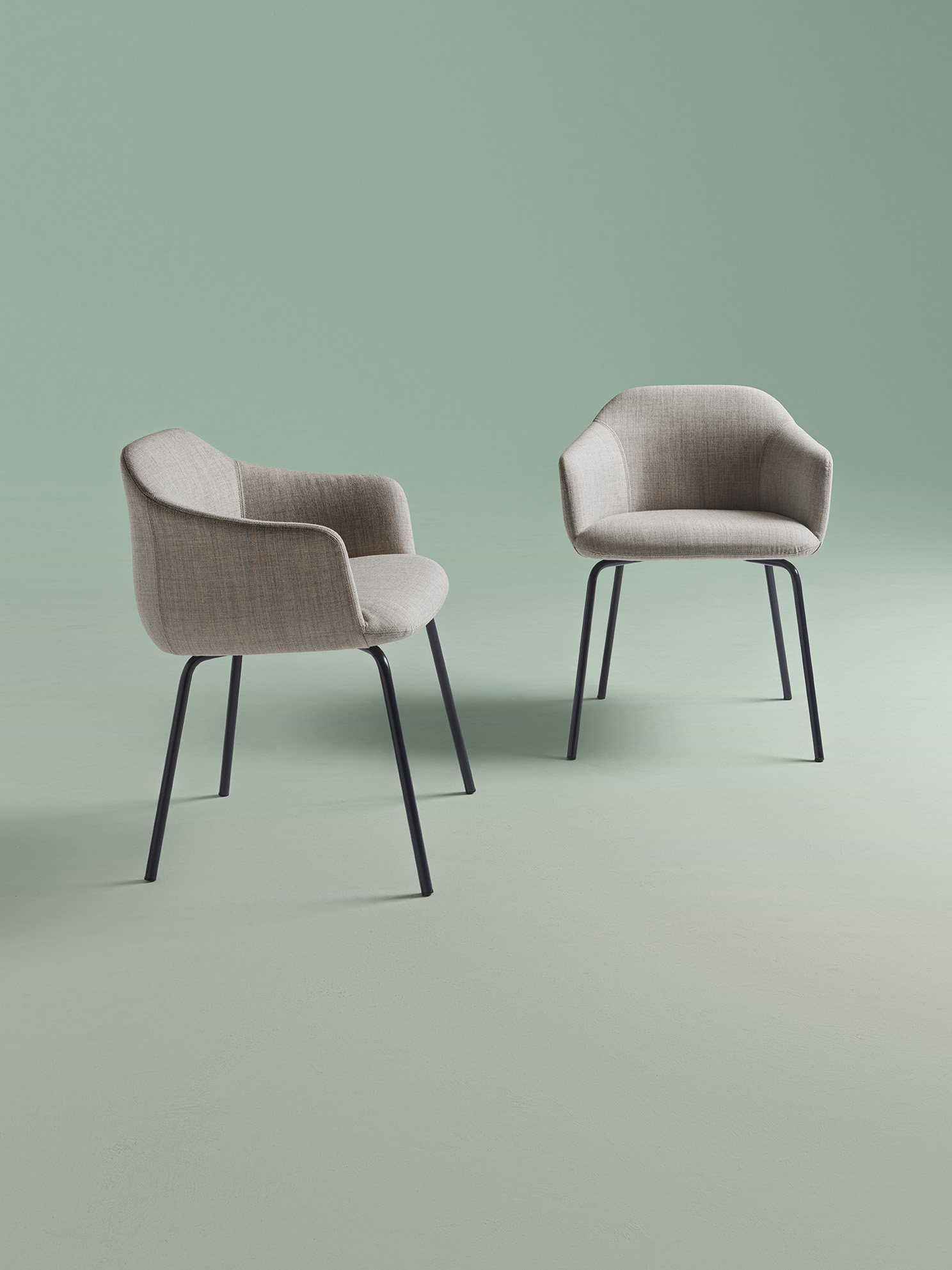 """Cloe Armchair - <p>The Cloe armchair, with its sinuous, continuous design, takes its cue from the delicacy of flowers. The back and seat, both padded with polyurethane foam and resting on a slender iron structure, offer comfort and softness, for the impression of being """"seated on a flower"""".</p> <p>The legs are in painted steel, the polimex shell is covered in polyurethane foam and polyester fiber lining with fabric covers.</p> <p>A range of materials, colours and sizes are available in a number of combinations. Prices may vary.<br /> Please enquire for full details.</p>  