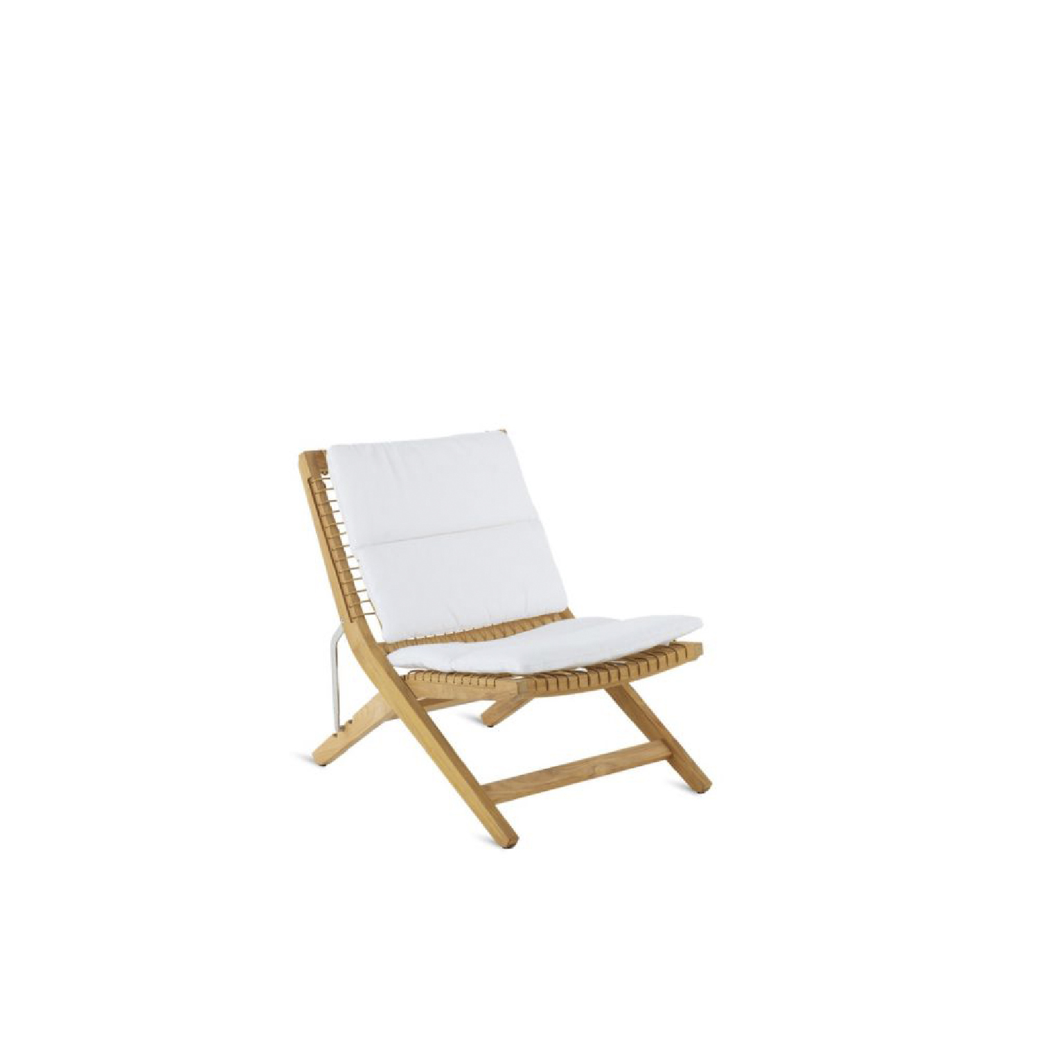Synthesis Folding Deckchair - Synthesis is a rich, versatile line characterized by the original combination of teak and synthetic fibre. This union creates a unique large mesh product, creating an elegant collection of pure designs.  Structure: teak and Synthetic fibre WaProLace® wicker natural. Cushions: removable covers in 100% acrylic fabric, Diamante colour. | Matter of Stuff