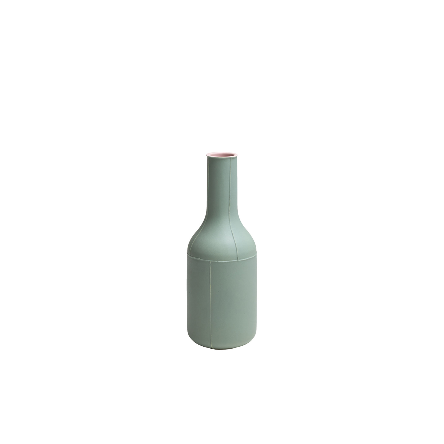 Green Bottle Vase - Bottle vase. Cast in white clay. Two-tone matt glaze, pink on the inside and green on the outside.