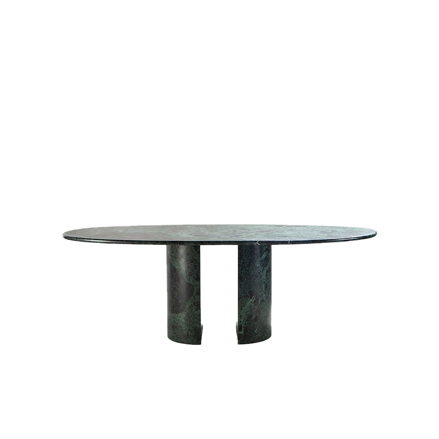 Dolmen Table - The Dolmen table, designed by Giulio Cappellini, reflects the tradition of classic marble with a twist inspired by the stylistic influences of the 1980's, here expressed through a carefully studied interplay of shapes.   The Dolmen has a majestic marble top, 3 cm thick, which rests atop two freestanding semi-circular bases made of the same material, further enhancing the support surface and ensuring a remarkably tactile experience.   The Dolmen table is available in three versions: white Carrara marble, green Alpi marble, and lightly straw-coloured Travertino.  | Matter of Stuff