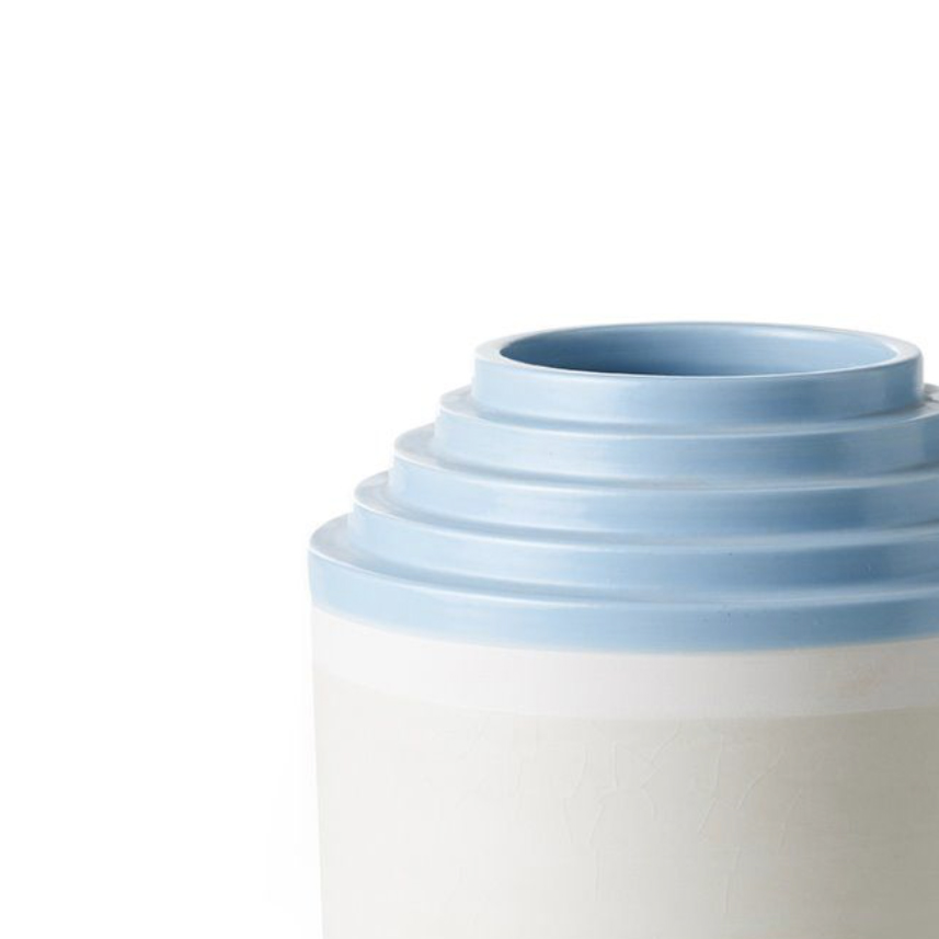 Blue Stripped Rim Vase - Vase with stepped rim. Hand-turned in white clay. Two-tone matt white and light blue glaze.  | Matter of Stuff
