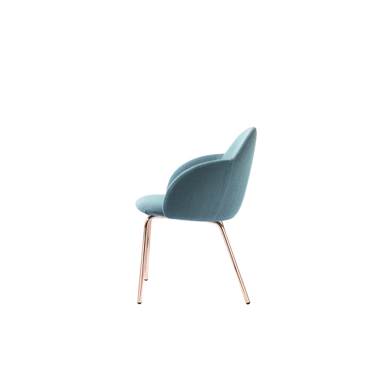 Iola Armchair - Iola shows off design with an international approach, focusing on the ergonomics of the form, ensuring a careful look, one with character. We have given the body the shape of a shell, producing it in expanded polyurethane. Then, on the advice of the hardest to please, we pulled the wings and then the two large arms came out. Iola hints at fashion but comes across as a modern classic. Chair with injected flame-retardant polyurethane foam seat and back upholstered in the listed fabrics. Legs are made in iron rebar with lacquered finish in anthracite, black, white or copper. The body is packed separately from the base.  See list at the attachments for fabric colours and finishes.  | Matter of Stuff