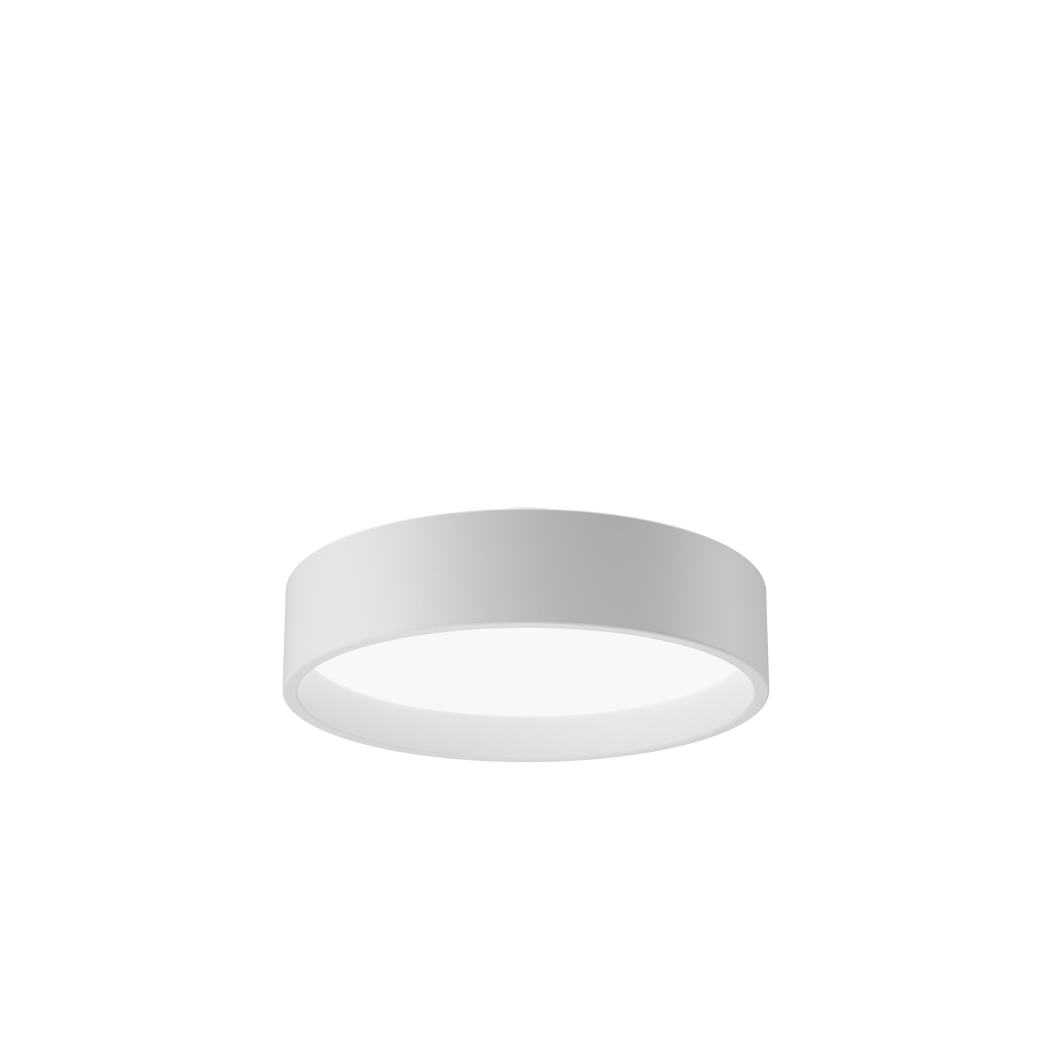 LP Circle Ceiling Light - The fixture emits diffuse light via a high-efficiency acrylic diffuser. The diffuser, which is encircled by a voluminous coloured or white ring, is hidden when viewed from low angles. Angling the inner side of the reflector ring 5° creates comfortable and decorative graduation of the light from the diffuser. The luminaire 'floats' 34 mm below the ceiling, creating a visual lightness. | Matter of Stuff