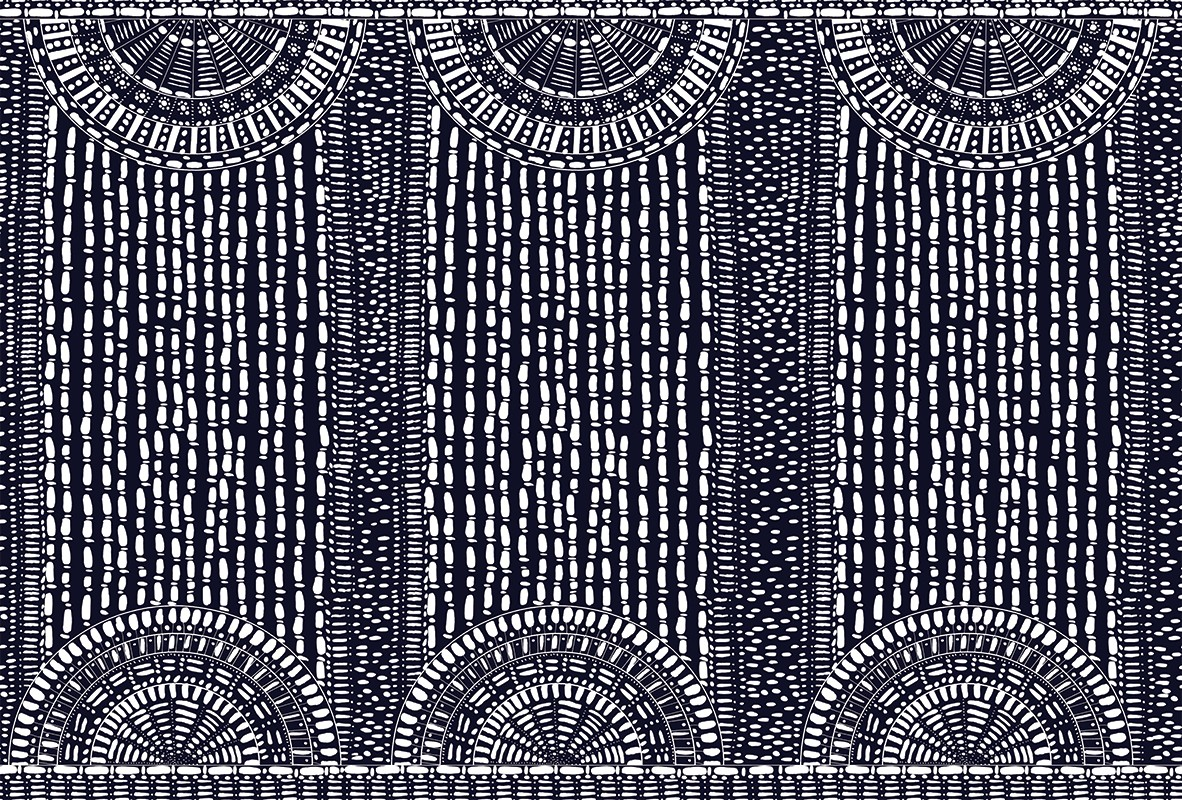 Arches - Graphic elaboration with strong tones, it's inspired by the magic world of labyrinths and botanical gardens, de-structured and reinterpreted through pure geometries. The strong contrasts, Indian ink drawn and afterwards digitalized, remind of the refined architectural details of the greenhouses, turned into slightly hypnotic graphic patterns. | Matter of Stuff