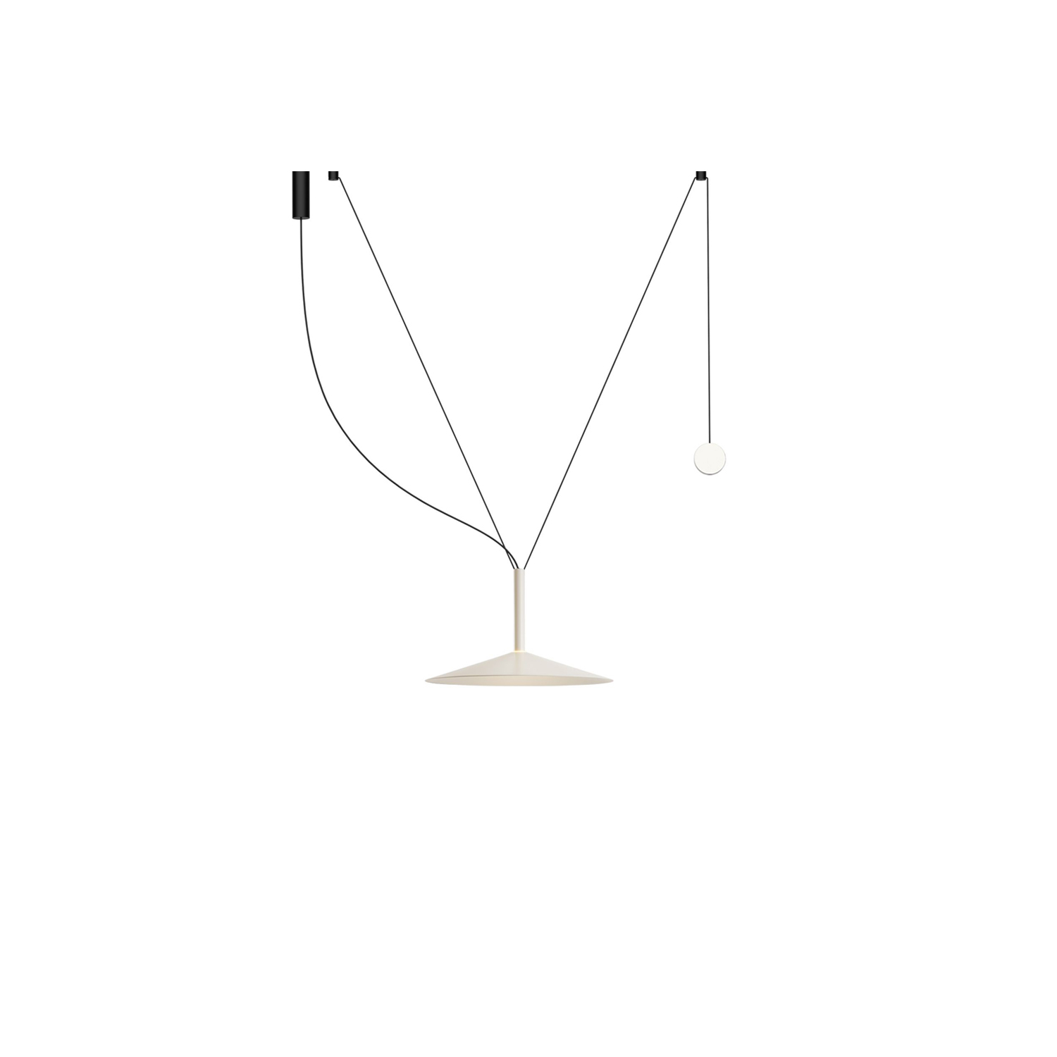 Milana 32 Counterweight Pendant Light - Tubular structure and lacquered aluminium shade with a translucid polycarbonate diffuser. Cable with a counterweight that allows moving the lamp throughout the space.  Moving the point of light, that's the idea behind the new design by Jaume Ramírez. Milana involves a system of modular suspension lamps that combine with one another and can be moved both vertically and horizontally.  Paradoxically, this new design starts by deconstructing the archetype of a lamp; by synthesizing it as much as possible, only a cylindrical body remains, suspended with a built-in LED. To this cylinder we can add different conical shades in oyster white, black, beige, grey or red, in several sizes. But most ingenious of all is that each of these lamps can have a simple counterweight such that when they are hung between two points, they can be moved.  An almost imperceptible lens covers the LED and distributes the light. If only the cylindrical lamp is used, the downward-directed light is impeccable, and when a shade is added, the light escapes, illuminating the lamp itself. This new lighting system gives the user control of the light, offering a new conceptual proposal.  Covering and baring lamps, moving them up, down and sideways. Mixing cylindrical shapes or combining them with decorative lamps. Milana lets you create countless compositions, a symphony of light. | Matter of Stuff
