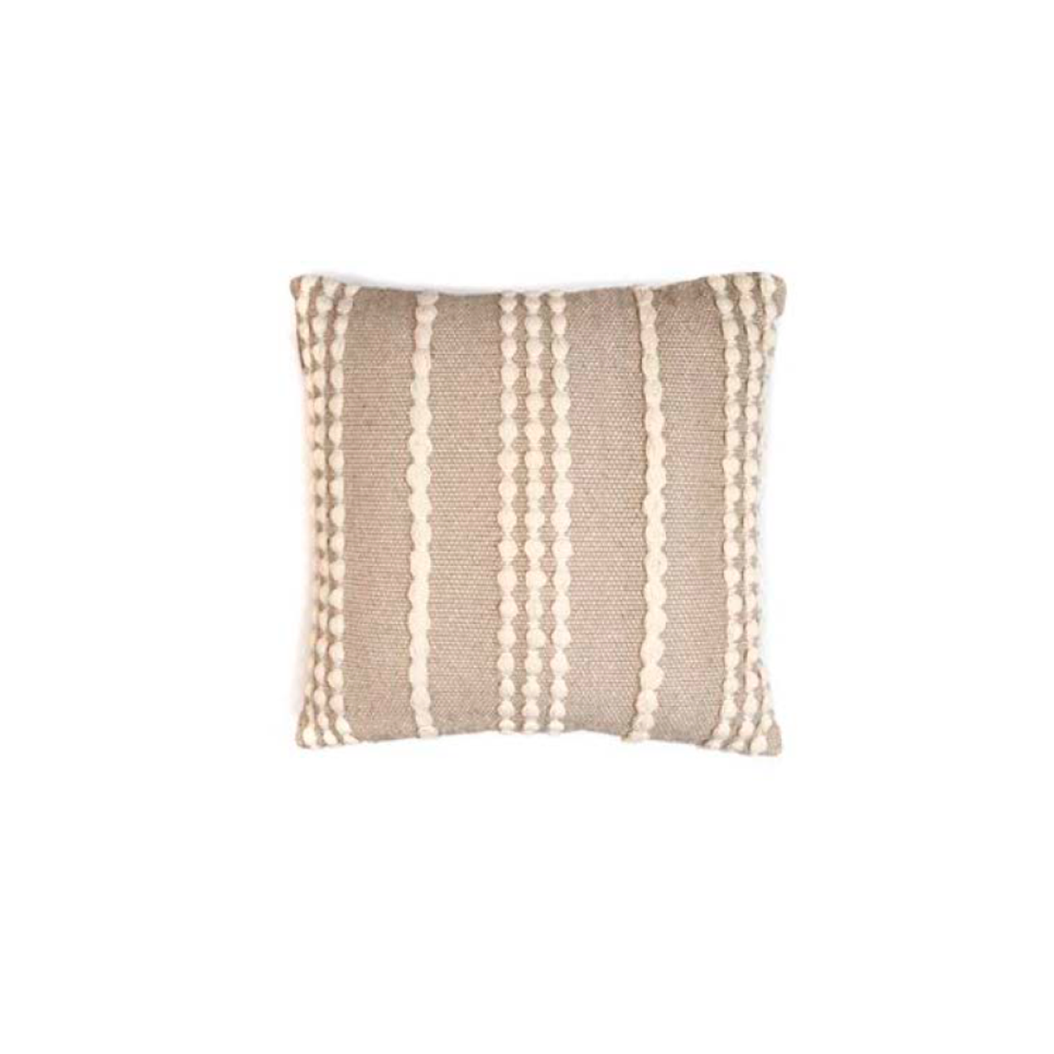 Lua Ecru Cotton Cushion Square - The Flame Sustainable Collection is made from a selection of organic cotton fibres, eco-friendly, hand-woven or elaborated using traditional hand-loom techniques. Carefully knitted within a trained community of women that found in their craft a way to provide their families.  This collection combines Elisa Atheniense mission for responsible sourcing and manufacturing. Each piece is meticulously hand-loom by artisans who practised methods with age-old techniques. With a minimal electricity impact, each item crafted is therefore unique and exclusive. Weavers and artisans are the ultimate lifelines of Elisa Atheniense Home Products.  The hand woven cotton, washable cushion cover is made in Brazil and the inner cushion is made in the UK.   | Matter of Stuff