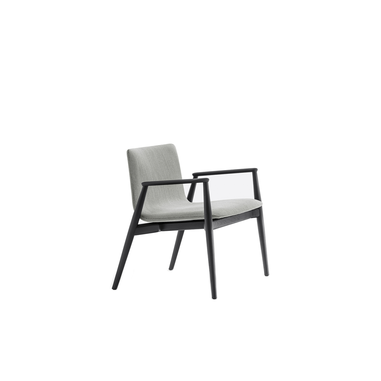 Malmö Lounge Chair Upholstered - Malmö family expands to new contexts entering in lounge environments, waiting areas and cafes. Lounge armchair is made of solid ash wood in bleached, black or light grey stained finish, plywood shell upholstered with fabric.