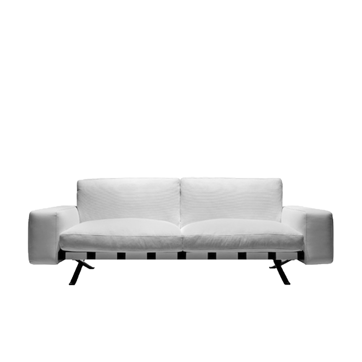 Fenix Two Seater Sofa - The sectional sofa is the theme that has characterized typological design since the 90s of last century. Ludovica and Roberto Palomba confront it, emphasizing the sense of suspension from the ground, thanks to a thin metal structure and developing, in the version with terminals, a great peninsula from the gracefully asymmetric shape. | Matter of Stuff