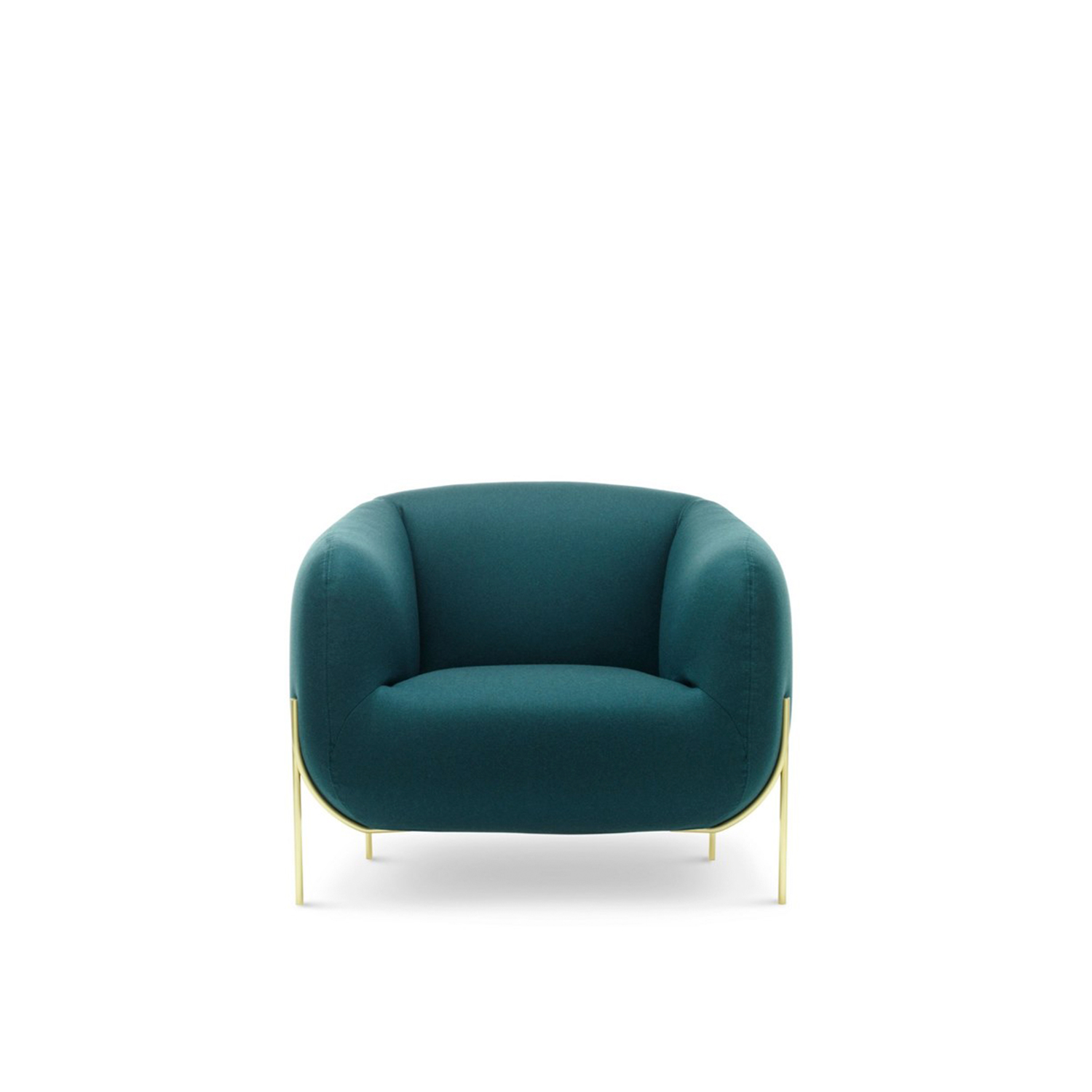 Geo Lounge Armchair - Sometimes a name can say a lot, sometimes it says everything. Geo is an all rounded armchair, the protagonist in a home. It's generous without invading space, welcoming without being suffocating and soft without being informal. Thanks to its unique design Geo is voluminous yet light, like a nest suspended into the air held up by small branches. The proportions have been designed with upmost attention to detail and with careful observation it will be noticed that the arm width is slightly different to that of the back, the ergonomic needs are different, and it has been a design choice to steer clear from a more typical uniform width that goes right around the entire armchair. The seat itself has less padding compared to the arms which are designed to hug the body. Every detail has been carefully studied to give life to a special object where the main volume of the seat and the very light volume of the legs find a unique harmony together. The metallic structure adds a luxurious feel to the object and is made for easy cleaning.  Additional removable cover is available, please enquire for prices.  Materials  The internal structure is made from Polimex covered with variable density polyurethane foam and velfodera coupled with resin pressed 200gr/sqm | Matter of Stuff