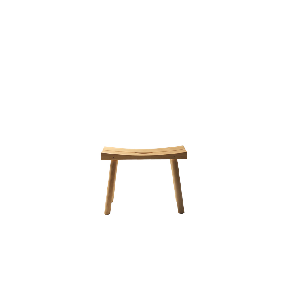 Periferia KVJ3 Stool - The traditional classic sauna stool by Kari Virtanen has been made at Nikari in various different forms throughout the decades. This version was created in the '90s for a very special sauna area located in Moscow, Russia.   Periferia KVJ3 Stool is available in alder with a natural oiled or black oiled finish for bathroom areas. This stool is manufactured in limited series. For availability, please inquire.  | Matter of Stuff