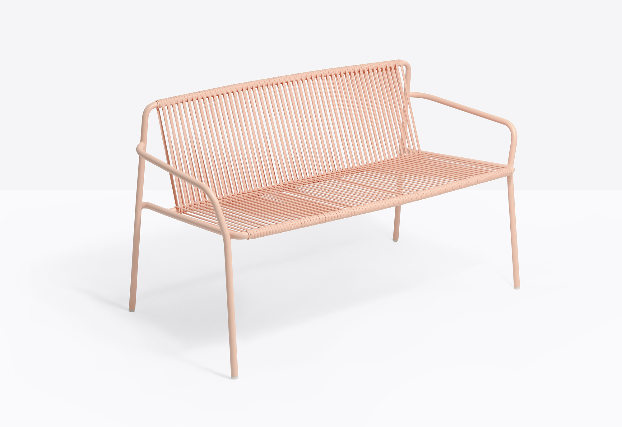Tribeca Bench - Tribeca evokes the comforting echoes of the past, offering a modern reinterpretation of the classic Sixties patio chairs made from steel and woven cord. The stackable two-seater sofa has a steel tube frame Ø2cm powder coated for outdoor use, back and seat in vertically-woven extruded PVC with nylon core. The collection is specifically designed for outdoor use. | Matter of Stuff