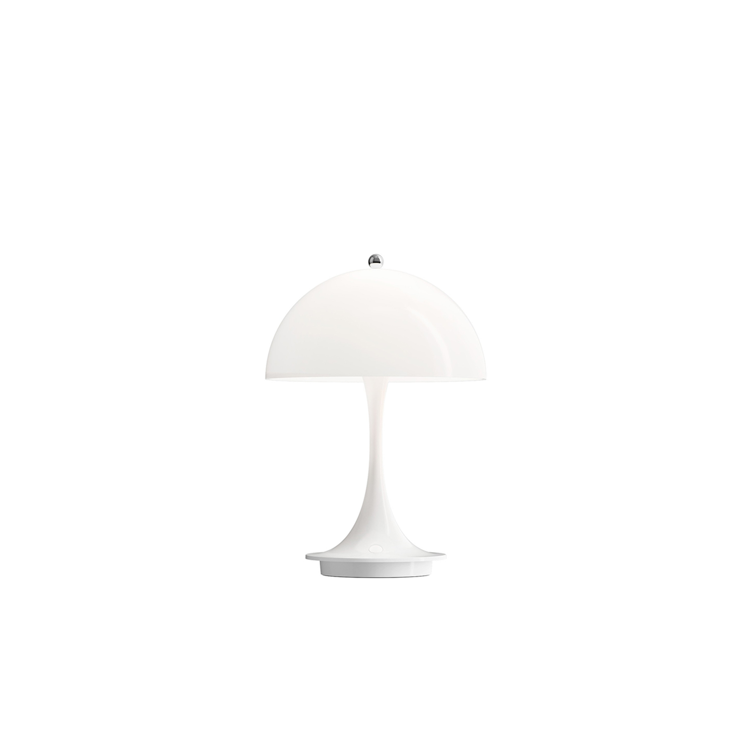 Panthella Cordless Table Lamp - The fixture lights up any space harmoniously without glare. The portable table lamp is available in opal, and the transparency of the shade and the reflection of the downward light on the inner side of the shade provides a gentle light and subtle ambience. The Panthella Portable comes with a USB-cable but without an adapter. Separate USB-Adapter is available as an accessory. The lamp is fitted with an integrated energy-saving LED light source. | Matter of Stuff