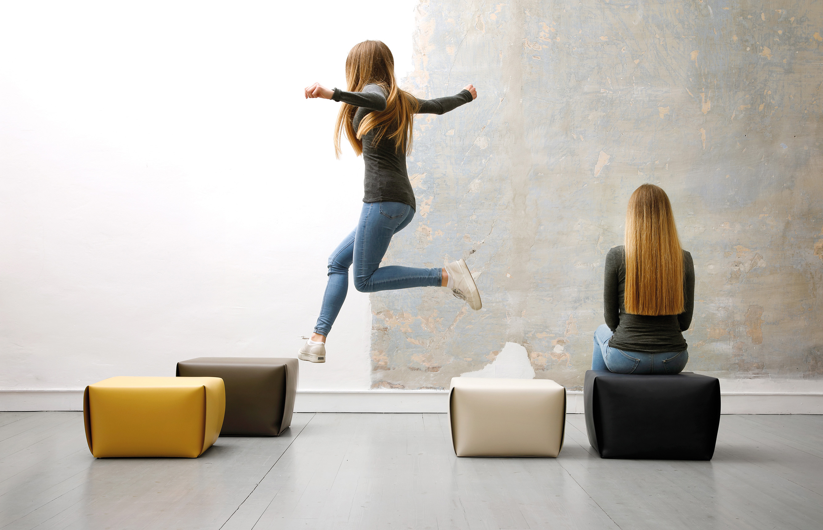 Big Bao Pouf - <p>Ottoman made out of a sewn leather hide which is then folded as an origami, to set its shape. Inside there are a wooden<br /> board and a fabric bag filled with high density polystyrene spheres. Made in frosted leather.</p> <p>Full set of colours on enquiring.</p>  | Matter of Stuff