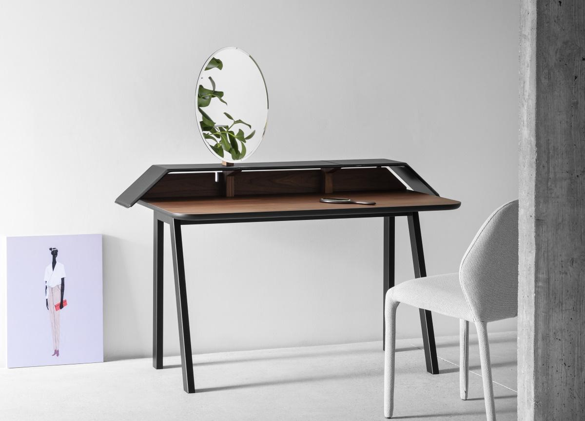 Tolda Desk - Tolda is a neo-romantic, pop element; the adjustable mirror reveals the inspiration to the classic toilette mobile, now revisited with a contemporary approach, with the right humour.  | Matter of Stuff