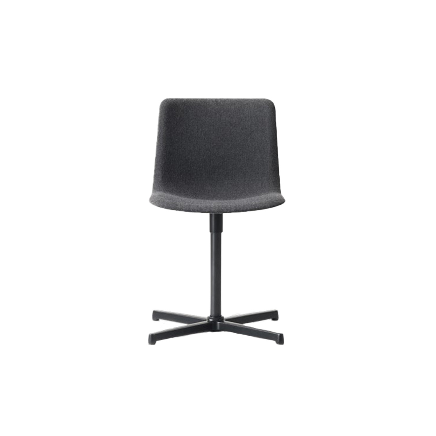 Pato Swivel X Base Chair Fully Upholstered - Pato Swivel features a 4-point swivel base with optional casters, making it ideal for both task seating and conference rooms. The chair can be tuned from basic to exclusive with optional upholstery.  Pato is a prime example of our focus on sustainability and protecting the environment, reflected in a chair that's 100% renewable and recyclable. All components can be incorporated into future furniture production, thus contributing to a circular economy by minimising the use of materials, resources, waste and pollution.   Merging traditional production methods with cutting-edge technology, Pato is a human-centric, highly versatile series of multi-purpose functional furniture that draws on our in-depth experience with materials, immaculate detailing and heritage of fine craftsmanship. Allowing us to apply our high standards of texture, finish and carpentry techniques to an array of materials in addition to wood for products aimed at a mass market.   With its clean lines and curves, Pato echoes the ethos of Danish-Icelandic design duo Welling/Ludvik. Demonstrating their belief that good design has the ability to be interesting, even when reduced to its most simple form. Where anything extraneous is eliminated and every detail has a purpose.   Together we spent nearly three years developing the shell structure to have a soft surface that's also wear and tear resistant. Enhancing the chair's ability to optimally conform to the user's body is a subtle beveled edge. A technique from classic cabinetmaking, which gives the chair a sense of handcrafted finesse. Each Pato is detailed and finished by hand by our highly skilled crafts people, who refine the beveled edge and the silky, resilient surface. Setting a new standard for the execution and finish of polypropylene.   Since the success of its initial launch, we've expanded Pato into an extensive collection of variants, featuring armchairs, barstools, office swivel chairs and a lon