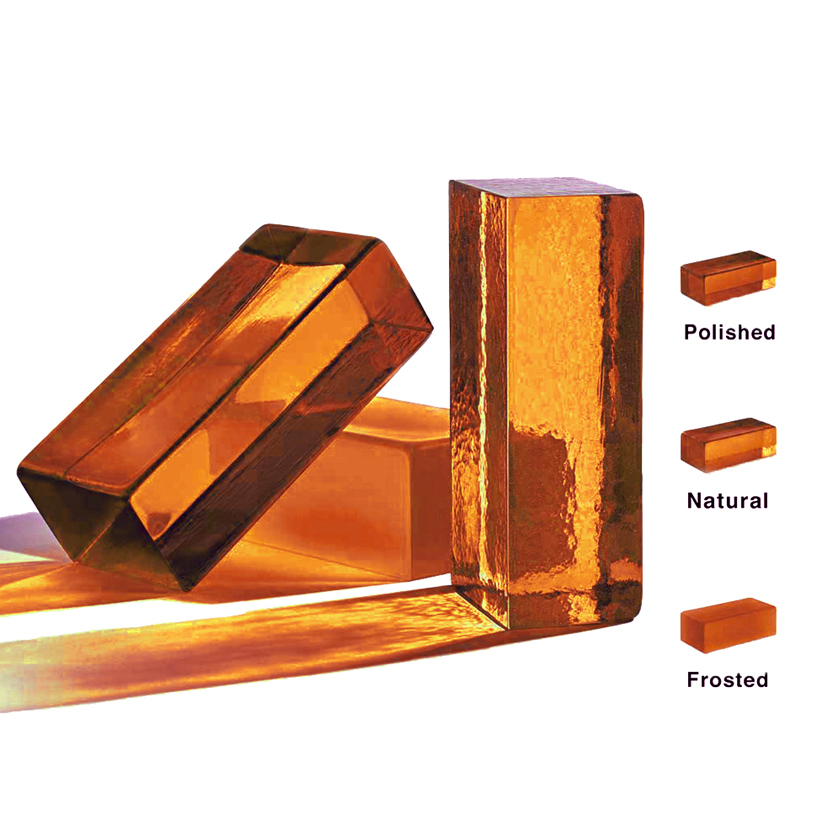 Handmade Glass Brick - Amber - Handmade glass bricks in a range of brilliant colours and available in three different finishes: polished, natural and frosted.  | Matter of Stuff