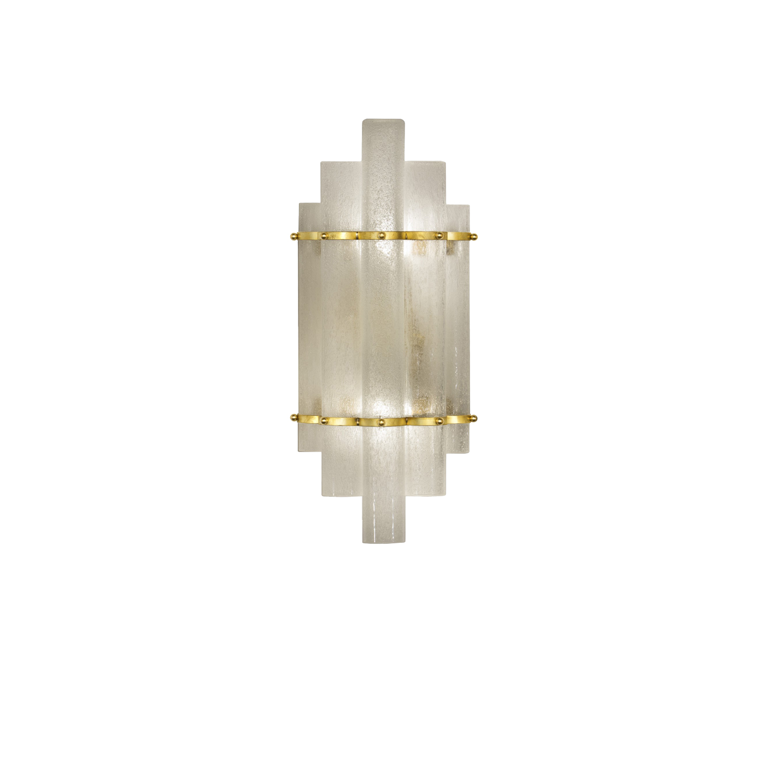 Donà Candles Sconce - What strikes of this sconce is his form that remembers medieval times. You can notice immediately the form of the brass frame that contains 5 Tubes in Murano glass.  | Matter of Stuff