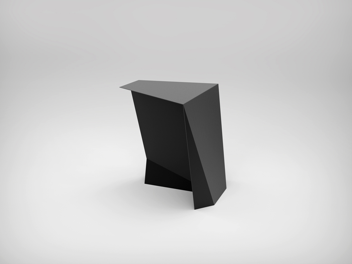 Perseus Side Table - <p>The Perseus side table is shaped by 3 mm thick steel plates to increase strength and stability. It's the ideal complement for the set up of the living area, thanks to the beautiful black mat finishing. It is perfect in pairs with the Pegasus coffee table, thanks to the complementary geometric shape. The Thinness Collection Matt Edition is available in customizable colours, presented in Materia Obscura black finish.</p>  | Matter of Stuff