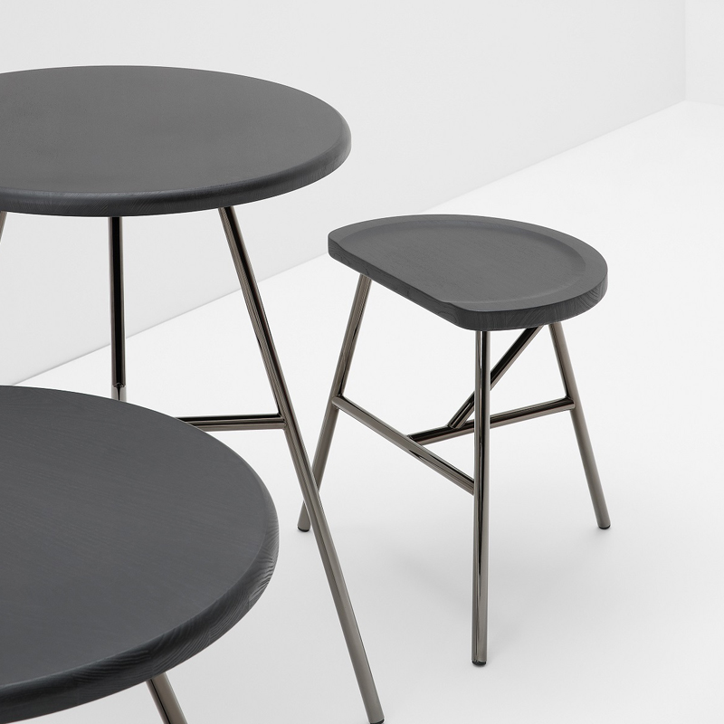 Puccio Stool - <p>Those routines from a recent past, rural and by now evaporated away, suddenly once again hold sway over the spaces of new times, in new ways of being together. This is how Puccio springs to life, from the disillusioned milking stool that reinvents its new modern self. Its form remains slim and usable just as it used to be, but Puccio gleefully transforms itself and makes itself useful in various functions: as seating, as tables, as a bench and as stools of varying heights, defining and transforming itself with post-modern ability. From the milking stool remains the warmth of wood, as does the elasticity of ashwood to which can be added, through the steel version, the technological sturdiness of the metal. The softness of the line remains, its fun, and the colour which never suffices. A thing of beauty retains its beauty for ever.</p>  | Matter of Stuff