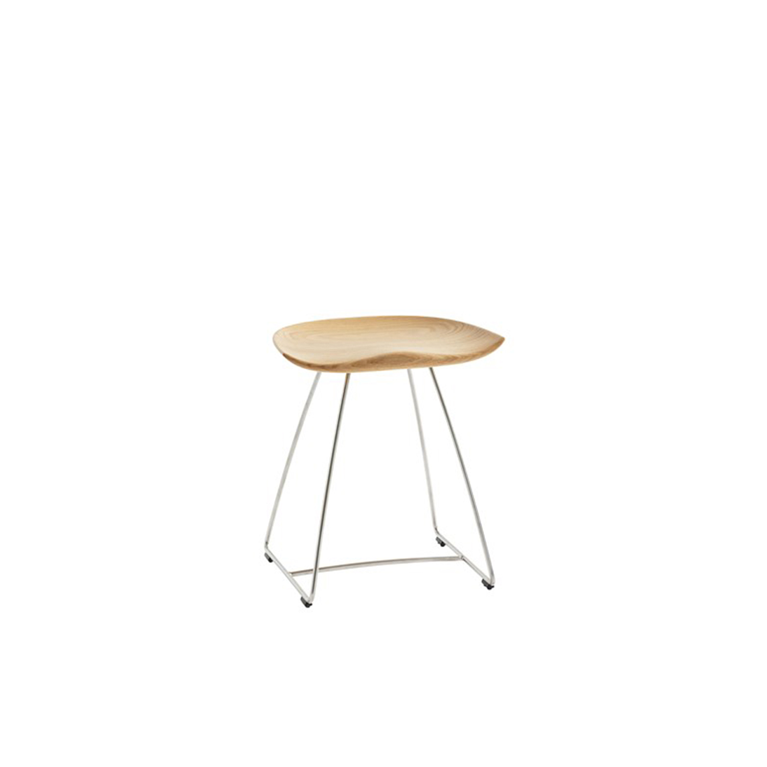 Kaz Stool - The inspiration for Kaz came from a tractor seat, here refined in the form of a stool that combines a contemporary look with timeless functionality. A wooden seat on an underframe of sturdy steel rod gives the stool a minimalistic expression that draws further attention to the wooden seat.  Kaz is manufactured from a single piece of solid wood – oak, ash or finished in standard stains on ash or white-glazed oak or ash. The metal frame has a matt chrome finish, and the runners are fitted with floor protectors. The stool comes in a choice of three heights.  Please enquire for more information. | Matter of Stuff