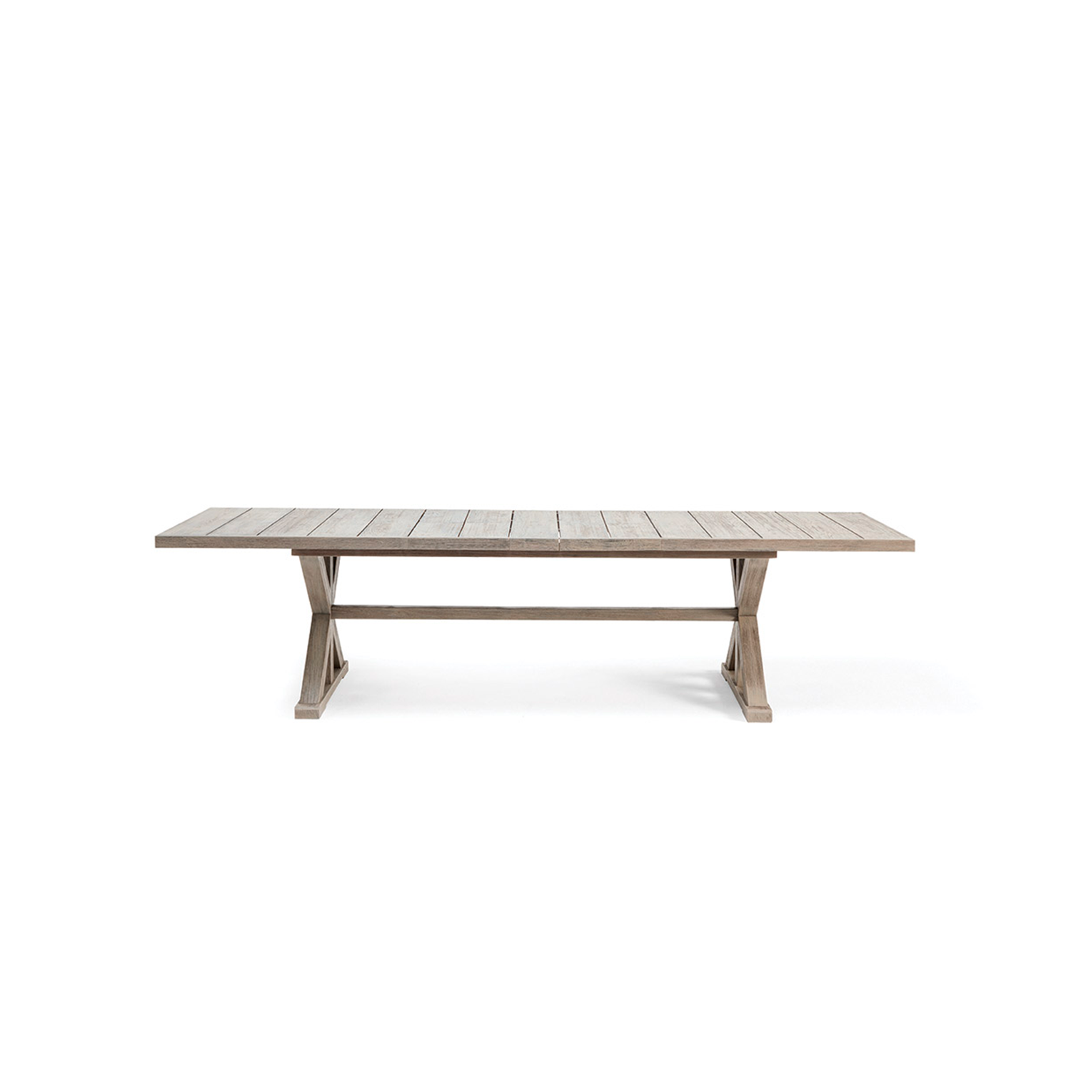 Cronos Extendable Rectangular Dining Table - Made of natural or pickled teak, the Cronos tables collection recalls the artisan tradition of wood. The base, which supports the tops, creates geometries and symmetries with a classic contemporary style.  Rain cover is available at extra cost. Please enquire for more information. | Matter of Stuff