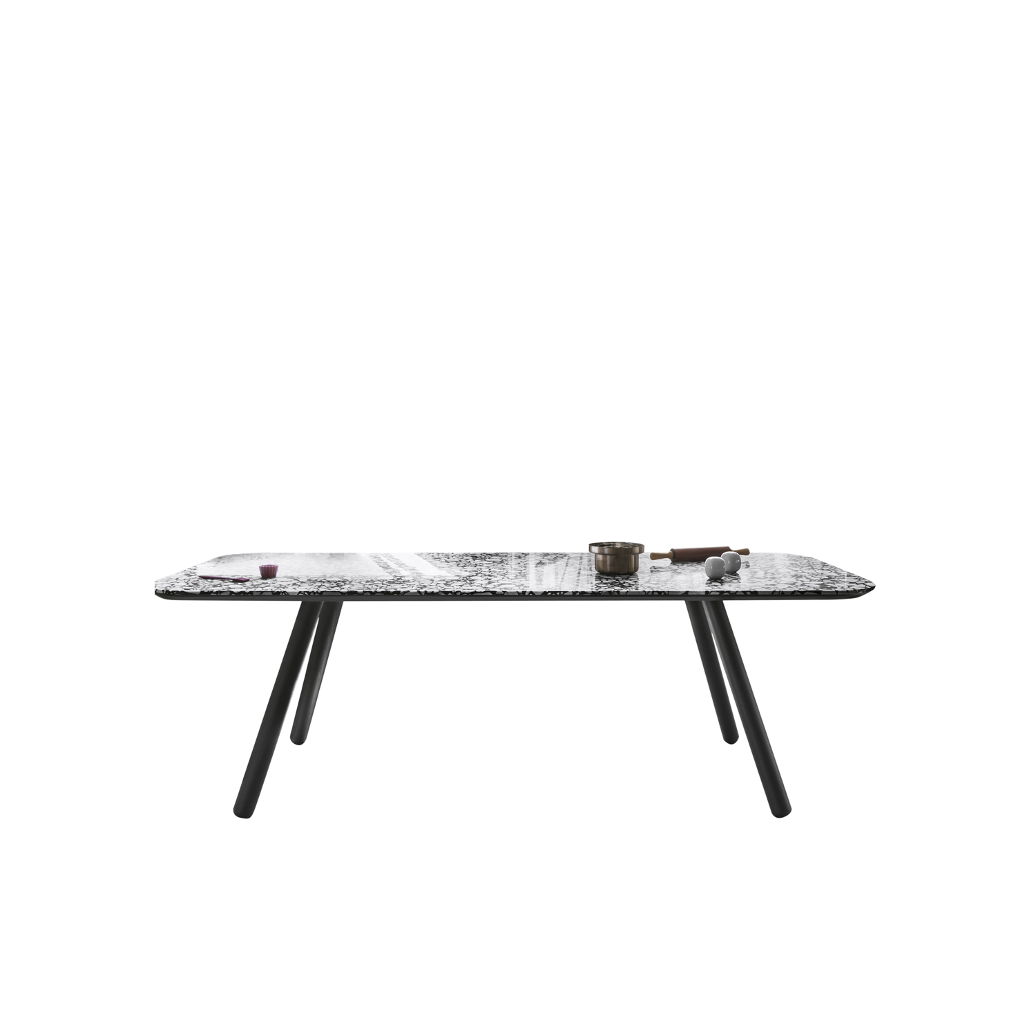 Pixie Marble Dining Table - Pixie is available with oval or rectangular top in Palladio Moro Marble. The legs are lacquered in natural beech, grey aniline or black aniline.