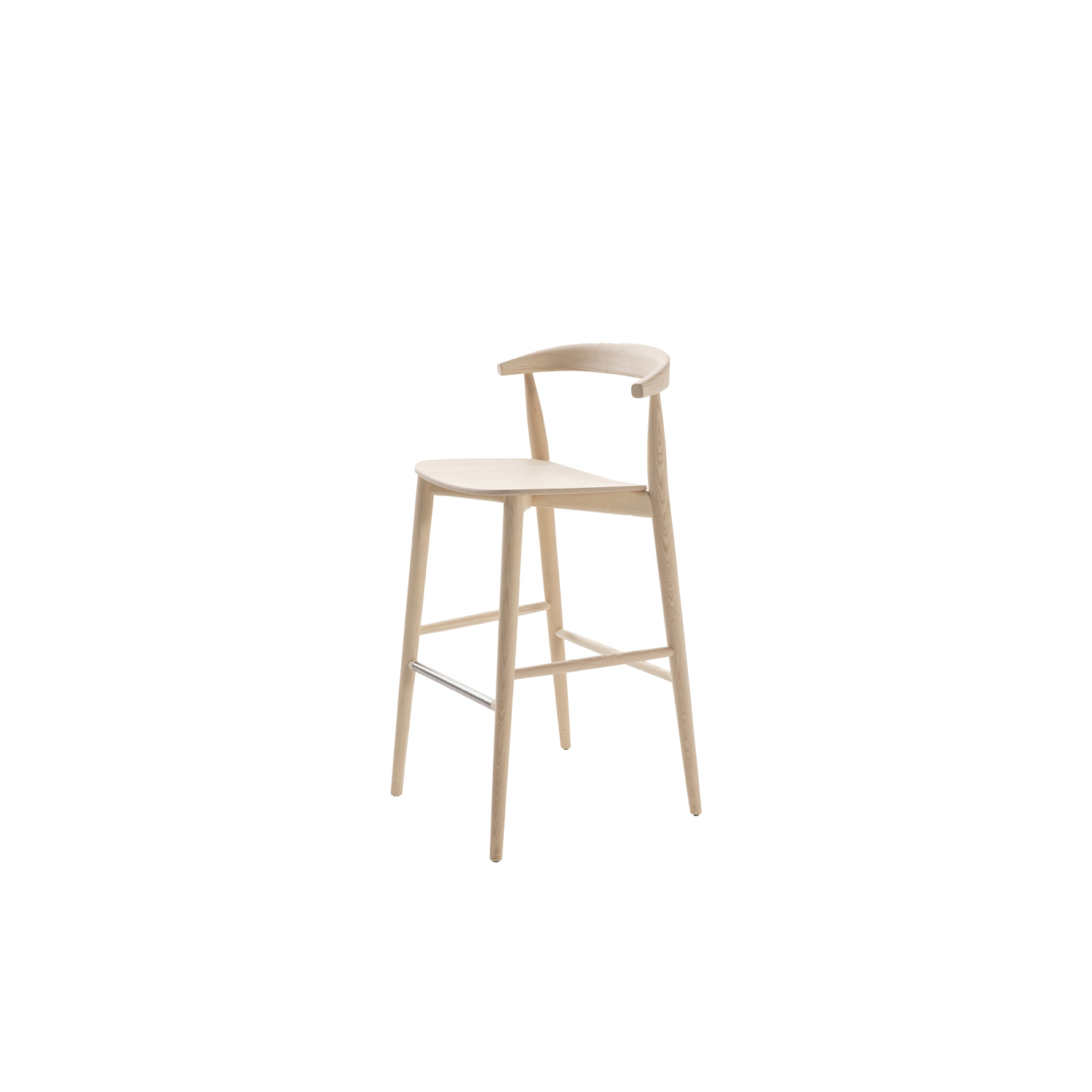 Newood Light High Stool - BrogliatoTraverso studio has continued to amplify its celebrated family, inspired by classic Windsor chairs, this time in two ultra-light versions: Newood Light chair and Newood Light stool. The Newood Light chair reflects all of the characteristics of the original design, but is much lighter in weight, due to the elimination of the 8 rods in the backrest. Newood Light Stool, a new item for 2019, is available in two heights and is made of solid ash wood, in the same tones as the other seats in the collection. Both the stool and Newood Light chair are available in a bleached ash, wengé stained, black stained oak stained and Shanghai blue stained finish. The seat can be in beech plywood seat, ash veneered in the same colour of the structure, or padded with fixed cover in a selection of fabrics or leathers of the collection. | Matter of Stuff