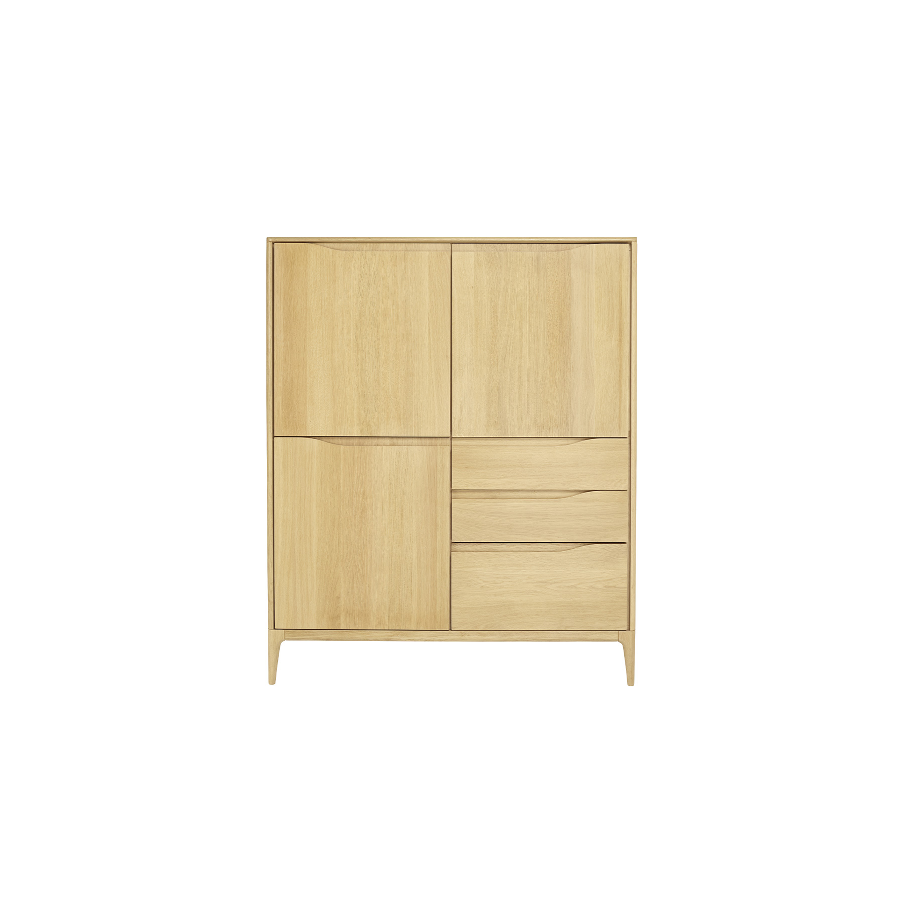 Romana Highboard - Romana is a modern dining and living-room furniture collection with soft curves and sophisticated craftsmanship that emphasises Ercol's skill in working with solid timber. Romana is made from pale oak and finished in a clear matt lacquer to both protect the timber and show off its beauty. Wood finishes and colour samples are shown for guidance only as screen colours may vary. We would recommend ordering a sample in your chosen finish. However, wood is a natural material and varies in colour, grain and structure.  | Matter of Stuff
