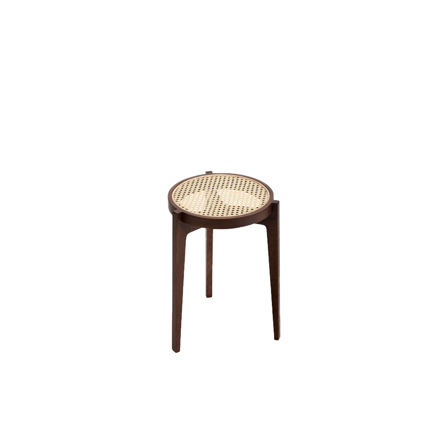 Le Roi Stool - Equally suitable as a seat or a table the Le Roi Stool is a minimalistic version of the classic three-legged stool. The stool is a made from solid oak with inlaid French rattan mesh and can be stacked to save space in a spiralling sculpture. The Le Roi Stool comes in Natural and Dark Stained oak. | Matter of Stuff