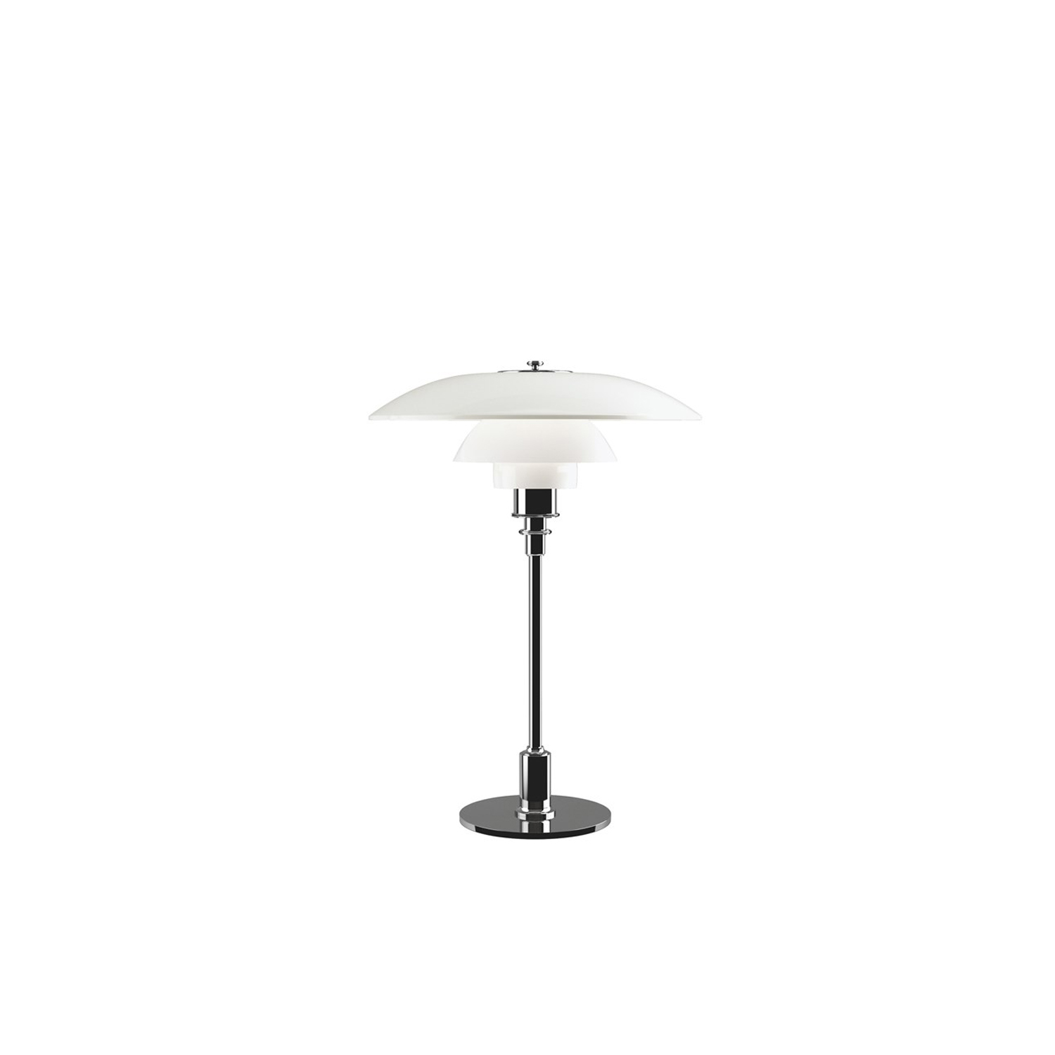 PH 3½-2½ Opal Glass Table Lamp - The fixture is designed based on the principle of a reflective three-shade system, which directs the majority of the light downwards.‎ The shades are made of mouth-blown opal three-layer glass, which is glossy on top and sandblasted matt on the underside, giving a soft and diffuse light distribution.‎ | Matter of Stuff