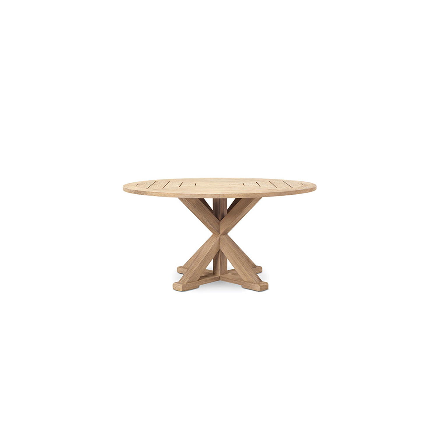 Cronos Round Dining Table - Made of natural or pickled teak, the Cronos tables collection recalls the artisan tradition of wood. The base, which supports the tops, creates geometries and symmetries with a classic contemporary style.  Rain cover is available at extra cost. Please enquire for more information. | Matter of Stuff