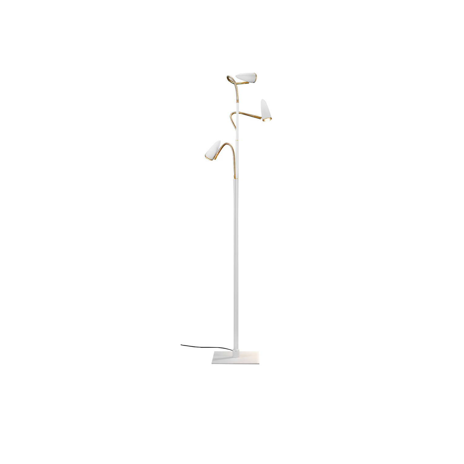 CicloItalia Flex F3 Floor Lamp - CicloItalia is undergoing a new makeover to provide the inspiration for a new collection named CicloItalia Flex. The brass finish is replaced by a more contemporary version of the headlights – in black or white and with a more elongated shape – but returns in the flex and in the rims of the glass lenses. | Matter of Stuff