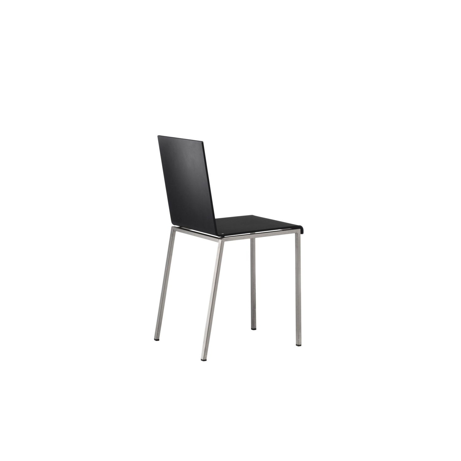 Bianca Chair - The Bianca Chair was designed in 2003 by Doriana & Massimiliano Fuksas. This elegant and sleek chair comes in an all-black steel tube frame which can be epoxy painted semi opaque black or white. The seat comes in  10mm pressed acrylic resin and can be either Opaline White or Opaque Black. This chair is perfectly suited to restaurants and commercial areas as well as in the home due to its effortless appearance. It is also stackable.    | Matter of Stuff