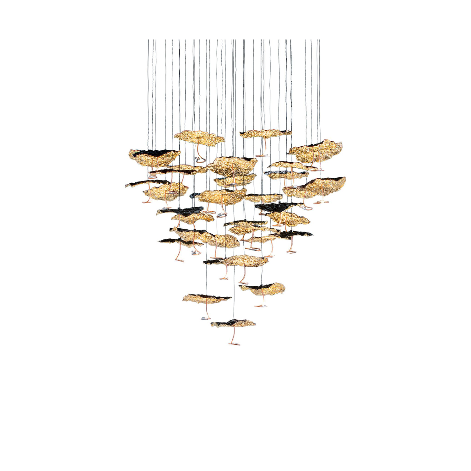 """Gold Moon Chandelier - The new lamps and upgrades were presented in preview at the Salvioni Milano Durini showroom during the Fuorisalone 2018. Available starting from September, the items have been collected in the new brochure """"Release 09.18"""". 