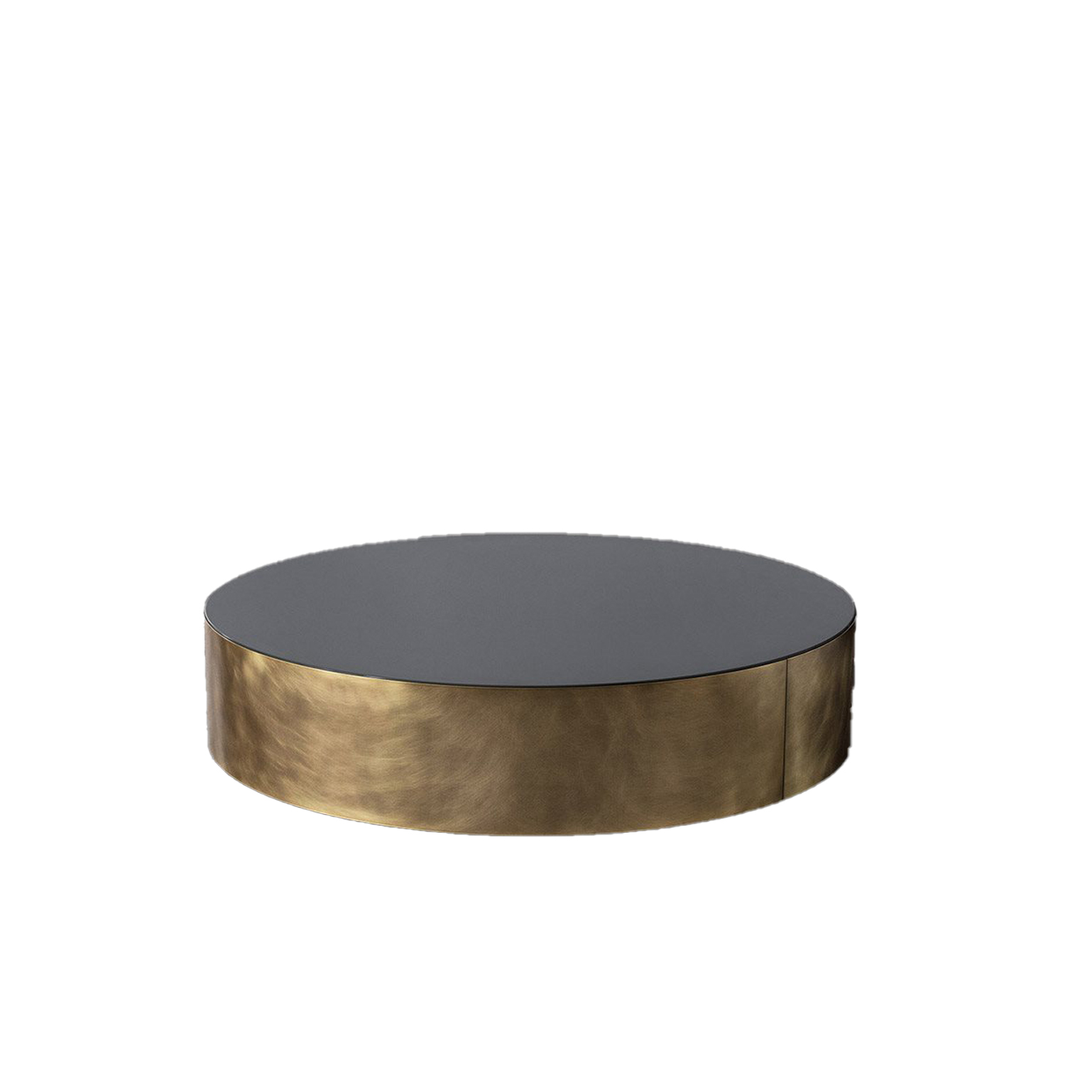 Belt Round Medium Low Table - Belt are low coffee tables with wooden structure and bronzed brass perimeter band. The top is available in matt lacquered oak veneer or glossy bronzed marble mirror glass. | Matter of Stuff