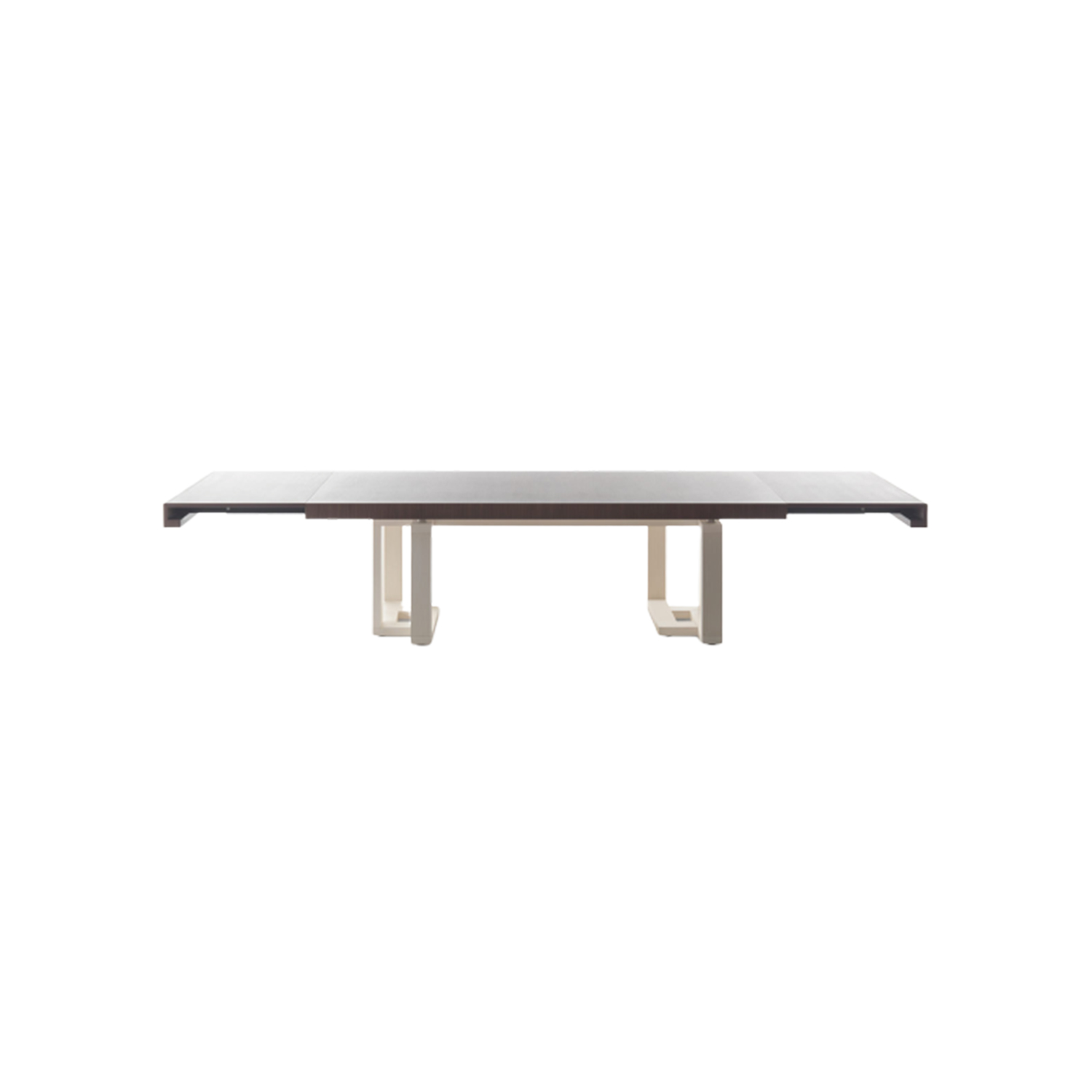 Fraseggio Extendable Table - Rectangular extensible table with aluminum rails and leaves magnetic alignment. Linear, orthogonal, extremely simple in form and mechanism, it effectively modulates itself and the surrounding space by extending on the fixed base. The two-tone increases aspects of lightness and its dialogue with accuracy and precision in the space, almost as if following a poetic and musical matrix.