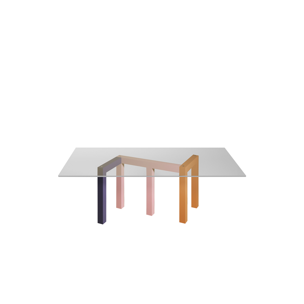 Penrose Dinner Table - Penrose is a large dinner table in wood and glass. The design was inspired by the geometric research of mathematician Roger Penrose and his famous impossible triangle.   Depending on the point of view, the legs overlap or blend to form shapes with 3, 4, or 5 legs. The glass top (clear of neon pink) shows the solid wood base assembled with traditional tenon and mortise technique. The result is a sculptural piece with brutalist inspirations enriched with luxurious finishes and the natural beauty of noble materials. | Matter of Stuff