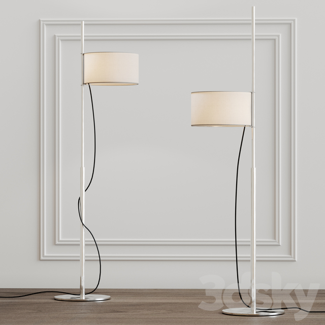 TMD Floor Lamp - <p>Based on his famous TMM lamp, Miguel Milá designed the TMD version replacing wood with metal. The designer came up with the idea of a shade that is raised like a sail up a mast. In order to reduce the number of sections, he replaced wood with metal and the cross-shaped base for a circular one. The inventive engineering remains the same; the shades height is adjustable via a rubber band stopper, and the light is switched on/off by pulling lightly on the cable. The elegant lampshade, made of white linen fabric, creates a warm ambient light. This exquisite blend of shapes and materials makes for an inviting, contemplative space, even with the light turned off.</p>  | Matter of Stuff