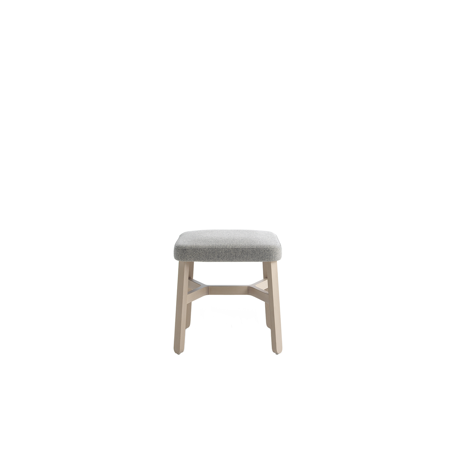 Croissant Small Stool - <p>Three heights of barstools in stained or lacquered beechwood, with upholstered seat and back. A crucial thought. A refined sense of belonging unites the entire Croissant collection, a recurring design, the crosspiece which distinguishes all the seating, as well as the tables. From the dining table to lounge areas, from restaurant bars and lobbies to privating dining: a complete collection. Chair, armchair, lounge chair, stools, sofa, pouffe and benches in stained or lacquered beechwood, with upholstered seat and back. Tables with frame in stained or lacquered beechwood and top in lacquered or laminated mdf or compact laminate.</p>  | Matter of Stuff