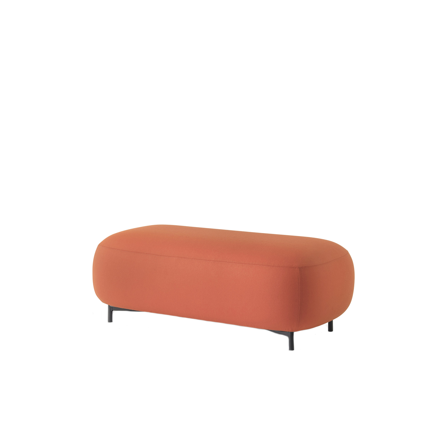 Buddy Pouf Long - Soft lines and clean design feature Buddy collection. The rounded shape of the pouf with a generous and comfortable upholstery is supported by four thin and rigorous legs Ø20mm. These make the pouf extremely functional and visually lift the volume from the ground. Height 400 mm.