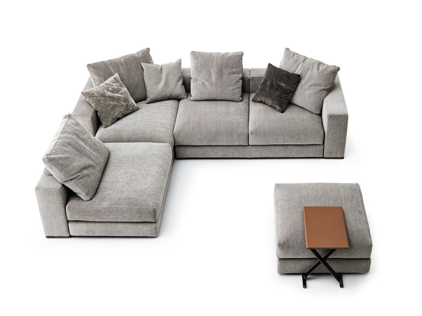 Ananta Class Sectional Sofa - Ananta Class is an informal, modular and versatile range that allows endless combinations of the independent backrests and bases available in 80, 120, 160, 200 and 240 cm lengths. The collection, whose name evokes the concept of infinity, is based on the idea of simple construction: free from constraints of the armrests and backrests, the seating can be arranged to suit individual needs. It is completed with a side table available in two sizes. The black chrome structure holds up a table top available in walnut veneer or regenerated leather. The line offers a new, democratic and modern way of relating objects to people's lifestyles. Fully removable covers. This item is available in various sizes and combinations. Please enquire for more information and prices.  Ananta Class Coffee Tables are available to purchase.  Materials Structure in wood padded with variable-density polyurethane foam, covered with velfodera on a resin-coated backing 200gr/sqm. The seat is sprung with elastic straps reinforced with polypropylene. The bases have feet in ABS while the feet of the backs are in black nickel finish. The back cushions are padded with washed and sterilize goose down and 100% polyester fiber divided into sections. Ananta Class proposes two kinds of seats: feather and polyurethane foam versions. Feather version The seat cushions are filled with washed and sterilized goose feather divided into sections and covered with white 100% cotton fabric with a variable-density foam core. Foam version The seat cushions are padded with variable-density polyurethane foam, covered with fine velvet coupled with dacron 380gr/sqm. | Matter of Stuff