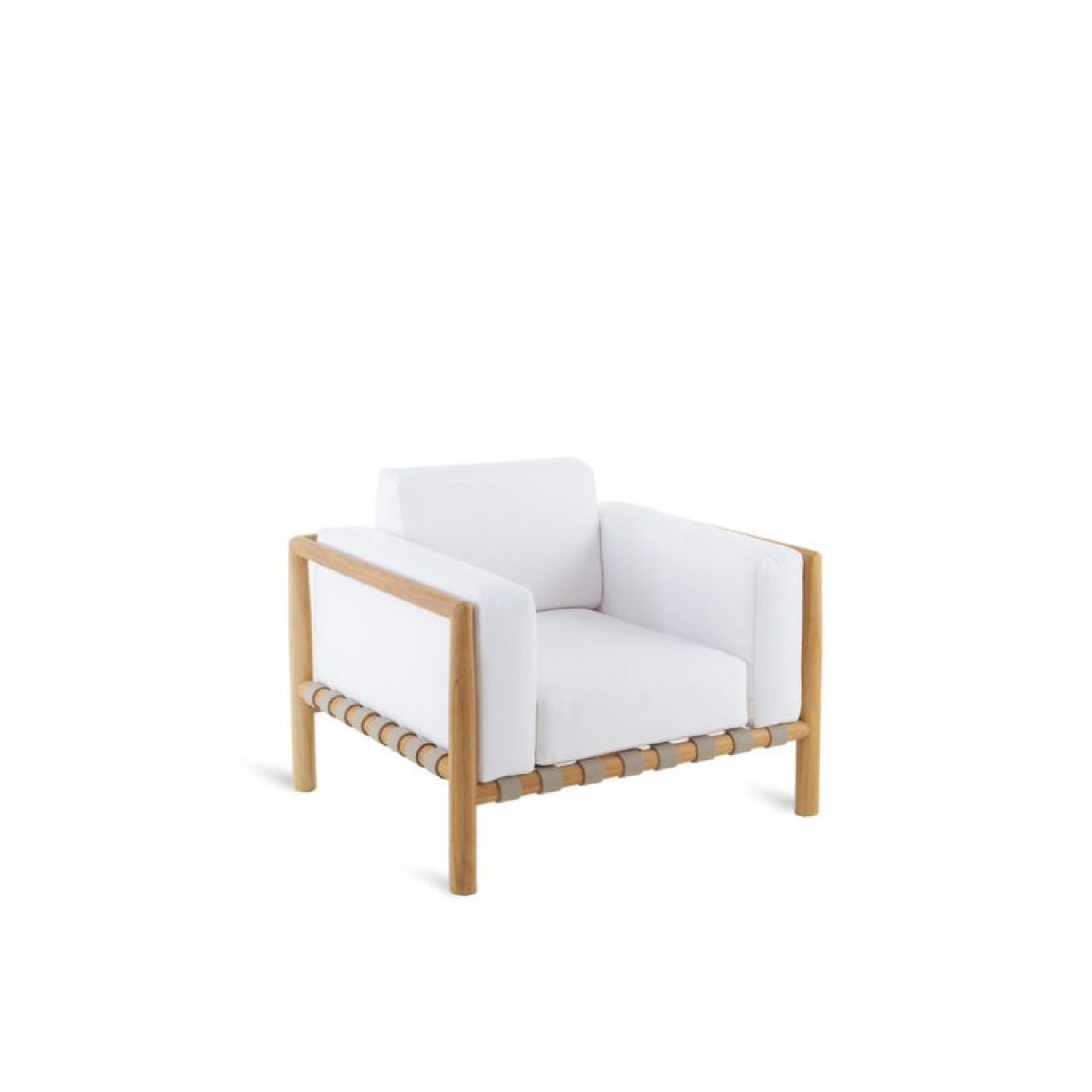 Pevero Armchair - The new really complete Pevero line exalts all the potential of teak, thanks to its clean essential design that highlights the round section of the wood.  Sofas, armchairs, tables both low and tall of various sizes, three different models of the chair and small armchair that are all well suited to other collections, as well as a sun lounger and a large round island, all characterized by teak worked in soft, rounded, graceful lines that are easy on the eye and guarantee maximum comfort, while tastefully furnishing any outdoor area.  Pevero armchair in teak (W 94 D 83 H 60 seat H 39) Structure in teak, cushion in 100% acrylic fabric colour Diamante (4 items - seat, backrest and armrest)   | Matter of Stuff