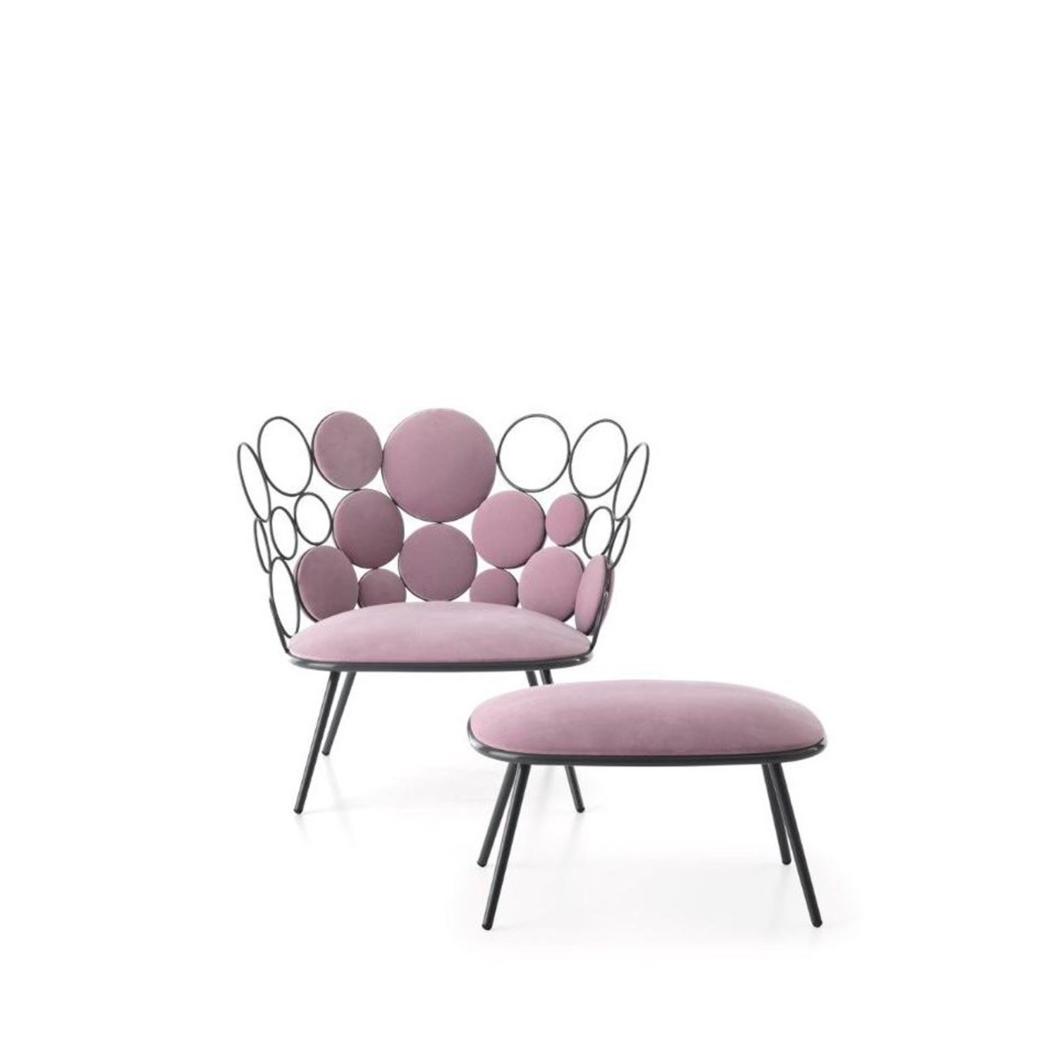 Grace Garden Easy Chair - Grace is a fabric and iron easy garden chair, part of homonymous collection.  Our new outdoor collection by Paolo Grasselli is an irresistibly dainty decorative range.  Geometric patterns materialise and metal lines trace circles through the air in an artistic élan that is much more deliberate than first seems.  Metal rings of differing sizes breathe life into a seating collection and accessories where practicality and beauty become one. Empty circles clasp cushioned spheres in a cluster of coloured and transparent bubbles, settling down magnificently into a tub chair, a loveseat, a low table and a pouf. Nascent forms spring up where the concept of a chair has been torn apart and made whole again; yet this time, the distinction between space and matter and object and surrounds has become blurred. Depending on the arrangement of the rings and the positioning of the cushions, different harmonious patterns can be created - the end result will always be strikingly decorative and surprisingly comfortable.    Materials :  Coated outdoor structure with spheres in ø 8 mm solid iron rod, ø 18 mm tubular base, available either in white or grey.  Padded spheres made in Finnish spruce and a seat cushion in contoured rubber are available in a vast array of upholstery suitable for outdoors. Should the furniture be destined for indoors, the choice of upholstery fabrics includes the home collection.  | Matter of Stuff