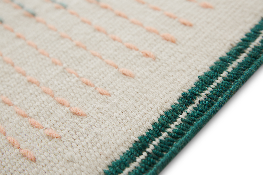 Backstitch Composition Rug - <p>Learning about embroidery – GAN's incredible craft and strength – Raw-Edges found themselves drawn to the aesthetics on its reverse side. The 'backstitch' has an unintentional hidden beauty to it, that one might so easily miss. Their aim was to understand the language of this 'random' backstitch and develop it into their rug collection. Focusing on colour combinations, the rhythm of patterns, the thickness of the yarns, tactility and craftsmanship, they also emphasise handmade work over working on the loom and the handmade embroideries. The technique used to make this rug is Kilim and embroidery and due to the handmade nature of the GAN product, slight variations in size, colour, finish are normal. </p>