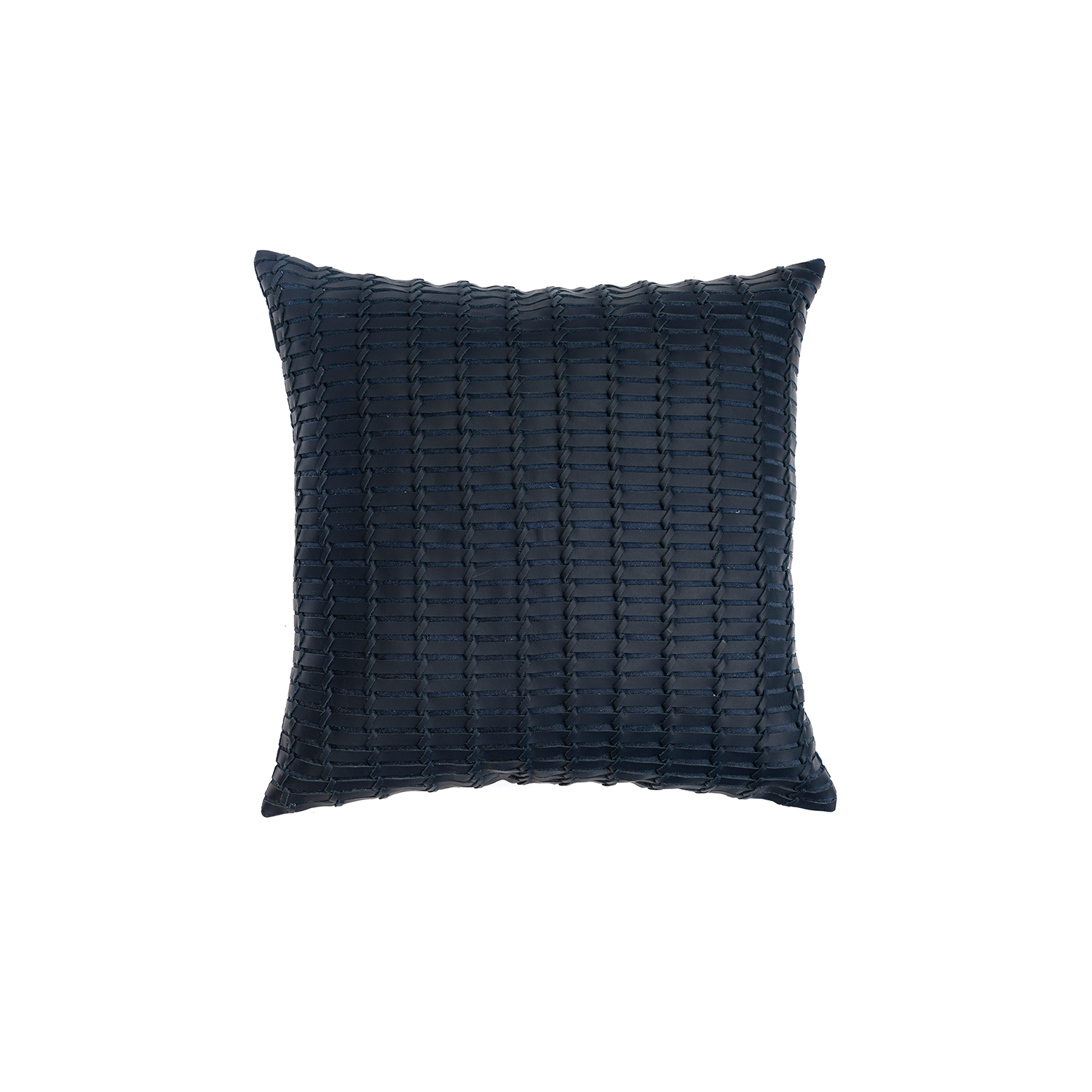 Maxi Indochina Woven Leather Cushion Square - The Maxi Indochina Woven Leather Cushionn is designed to complement an ambient with a natural and sophisticated feeling. This cushion style is available in pleated leather or pleated suede leather. Elisa Atheniense woven handmade leather cushions are specially manufactured in Brazil using an exclusive treated leather that brings the soft feel touch to every single piece.   The front panel is handwoven in leather and the back panel is 100% Pes, made in Brazil.  The inner cushion is available in Hollow Fibre and European Duck Feathers, made in the UK.  Please enquire for more information and see colour chart for reference.   | Matter of Stuff