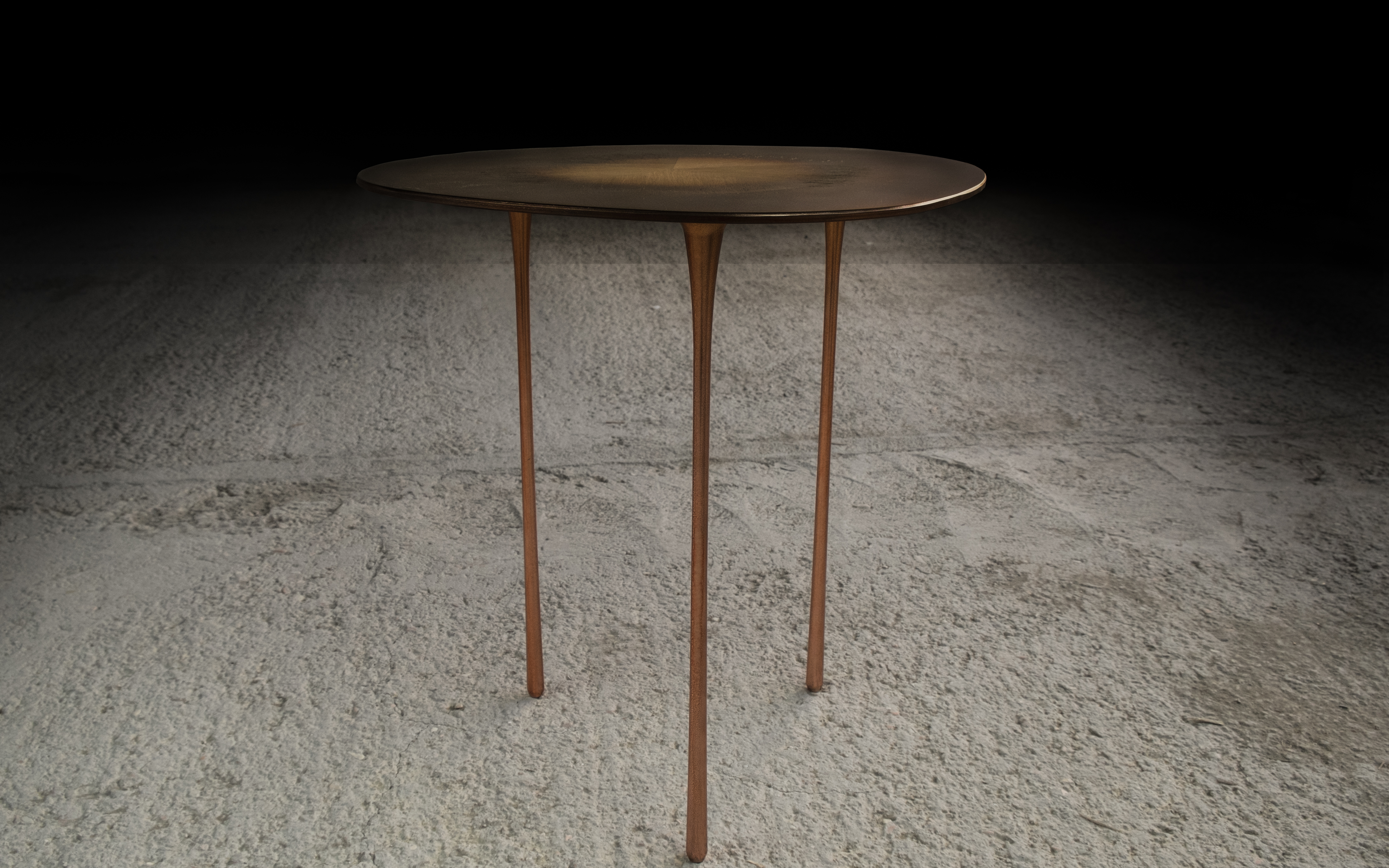 Echo Side Table - <p>The echo table pushes the material limits of metal and wood to imagine an intangible reality.<br /> The grain of wood tells its history, and by using a technique of exposing the hardwood (season of winter) and embedded metal into the lines of the softwood (season of summer), each growth creates an elusive boundary between the two materials.<br /> The objectivity further enhanced by the lightness and thinness in the profile of both materials.<br /> Beauty and inspiration are found all around us. The table legs reference the shape generated by the spilling of water.<br /> The variation in the shapes of the table top resembles that of stones organically formed by sea current.<br /> Enacting the activity and motion which would happen around a table. The colours allude to the subtle shades of a sunrise, created in three metal: aluminum, copper, and brass.<br /> Developed and Produced during the Matter of Stuff Designer Residency program in Montalcino </p>    Matter of Stuff