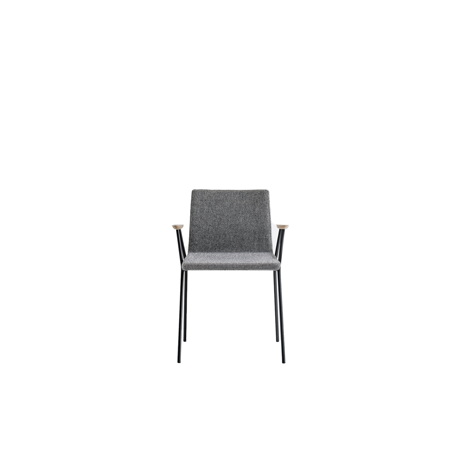 Osaka Metal Upholstered Armchair - Osaka is a collection of seatings with a strong graphic impact whose construction elements remind the linear features of an ideogram. Osaka Metal armchair with upholstered shell version covered in fabric or leather and steel tube frame Ø 16 mm. Armrests in ash wood. | Matter of Stuff