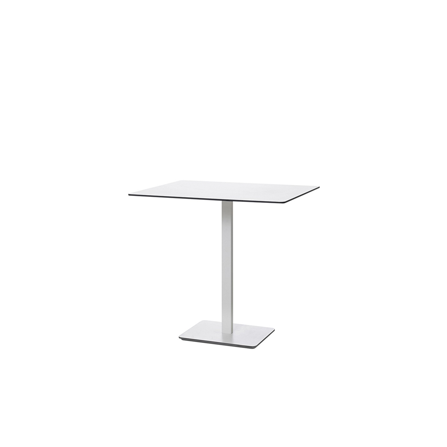 Ponoq Rectangular Table - In the beginning, ponoq (2009-2010) was a wall mounted coat rack in compact laminate. Our product development led to free-standing clothes hanger with base and pillars, with or without umbrella stands. The pillars and the base-plate made it easy to develop further with a tabletop/base plate in the compact laminate which became a table. The pedestal table ponoq's base-plate can be secured to the floor using a concealed fitting and ideal in environments that are subjected to a lot of hard wear and tear.  Pedestal table comes in seven heights, with rectangular or round tabletops in a choice of sizes. ponoq has a tabletop/base-plate in white or black compact laminate, and supporting pedestals in white or black lacquered metal. ponoq pedestal table is ideal for waiting rooms, corridors, schools, museums, art galleries or wherever furniture needs to cope with a lot of hard wear and tear.  Additional heights and dimensions are available, please see technical sheet attached and enquire for more details. | Matter of Stuff