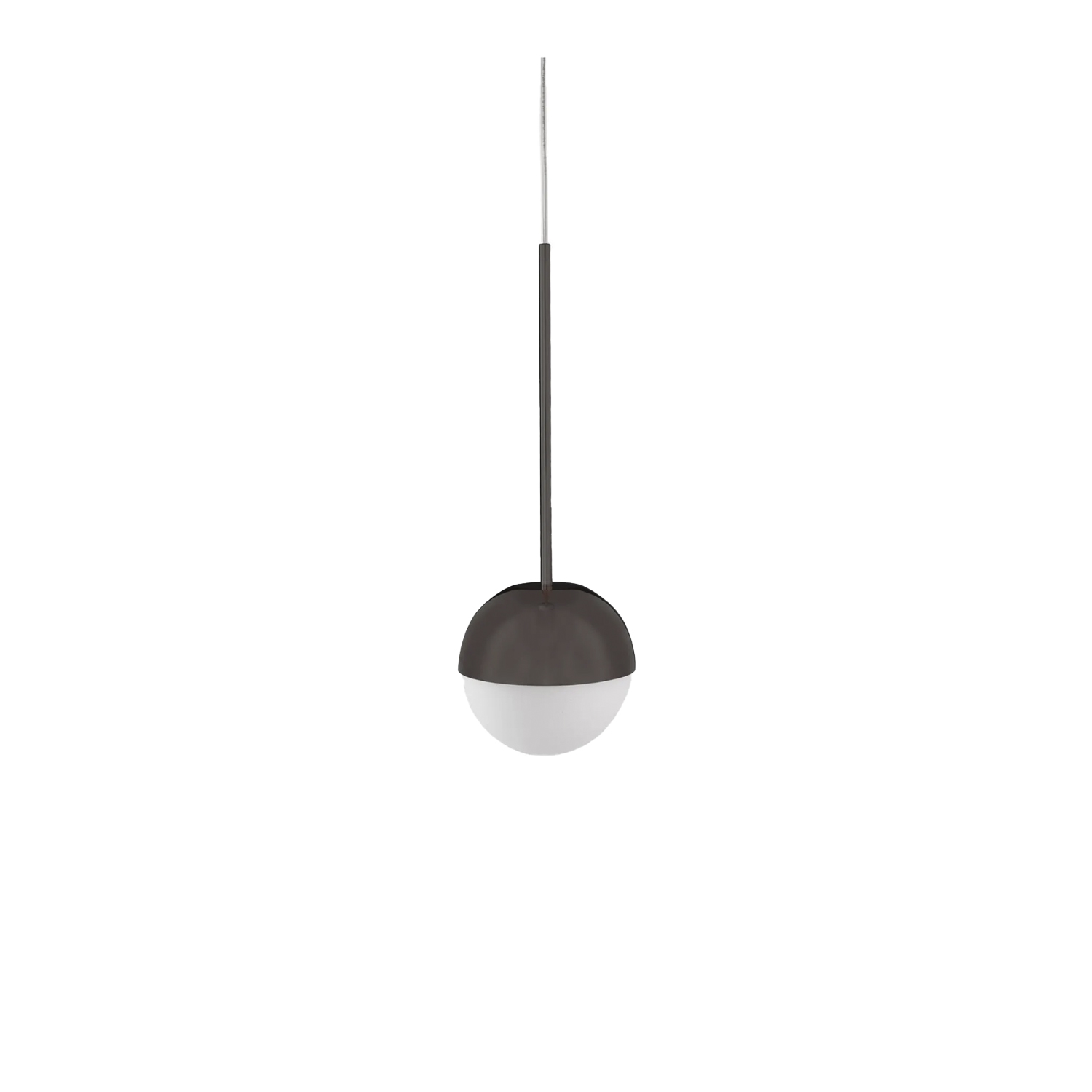 Pallina Suspension Lamp - The perfection of glass and sphere to create the most essential object of the collection. A must-have for every space of the house, inspired by the Italian theatre and Broadway musicals from 40's and 50's. Simplicity and seriality. Pallina. One, no one, one hundred thousand.  Suspension lamp with diffused and dimmable light. Frame made of chromed metal with double interchangeable stem. Diffuser made of opalyne blown glass with satin-finish. Transparent power cable. Painted polycarbonate ceiling rose. Bulb not included. | Matter of Stuff